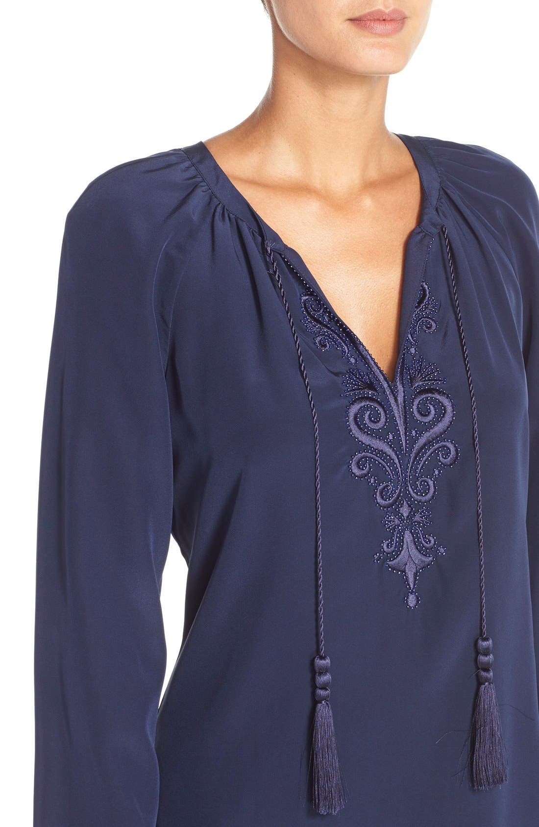 Alternate Image 4  - Lilly Pulitzer® 'Roslyn' Embroidered Silk Tunic Dress
