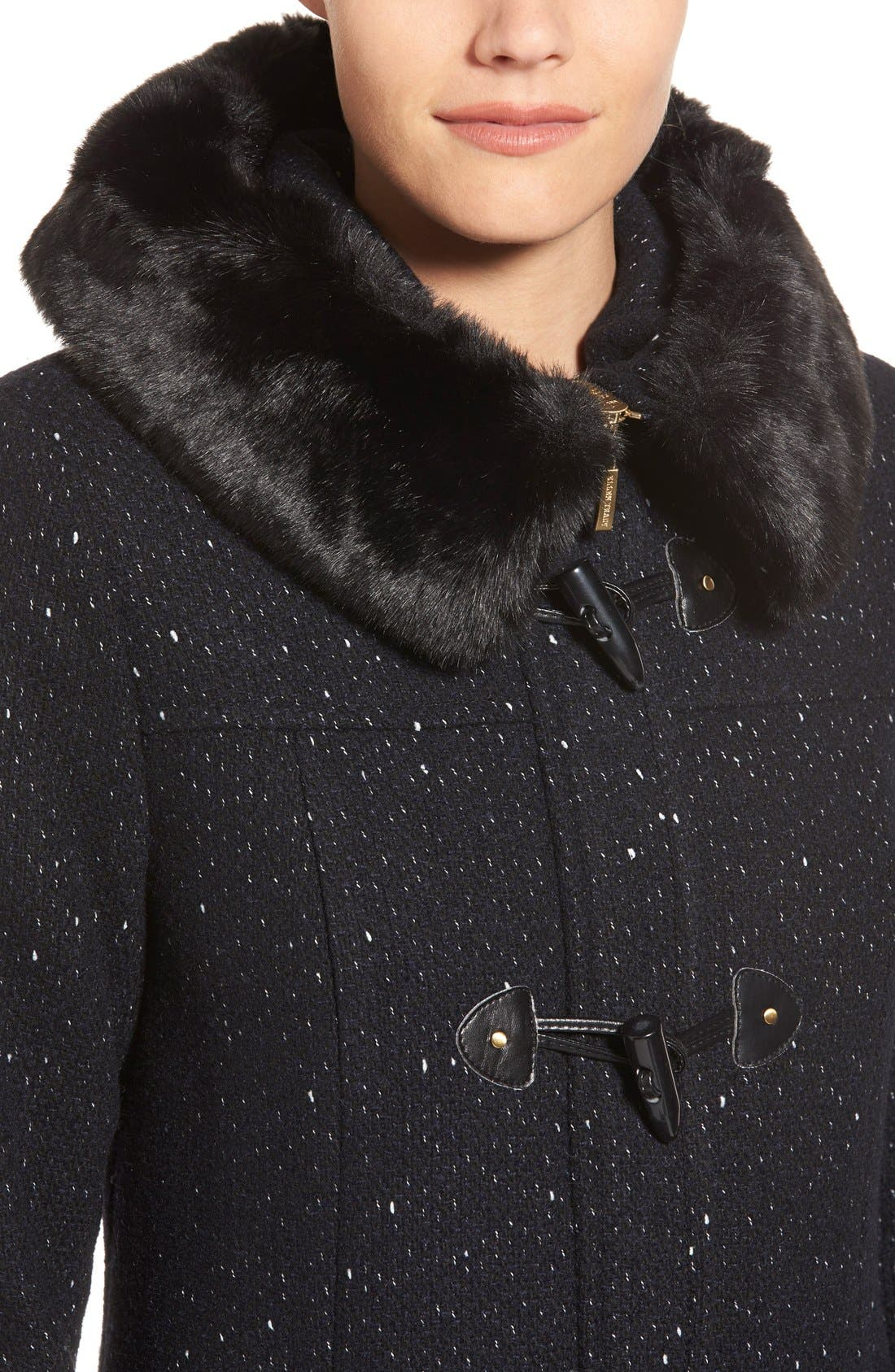 Alternate Image 4  - Ellen Tracy Toggle Front Tweed Coat with Faux Fur Trim