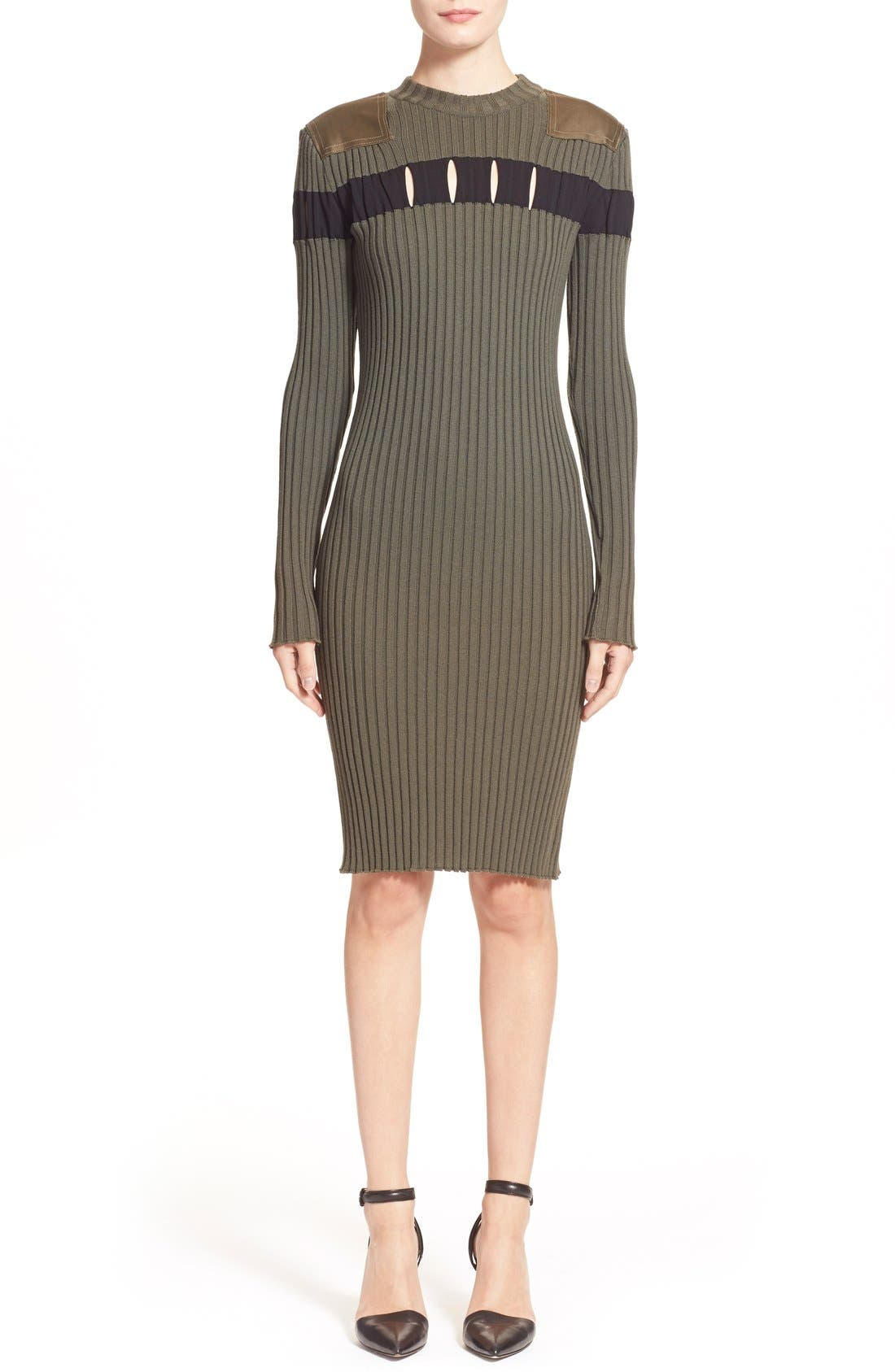 Alternate Image 1  - Alexander Wang Perforated Stripe Rib Knit Wool Dress