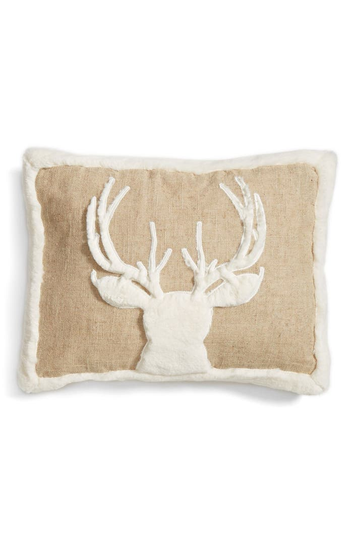 Faux Deerskin Pillow : Levtex Deer Applique Burlap Pillow with Faux Fur Trim Nordstrom