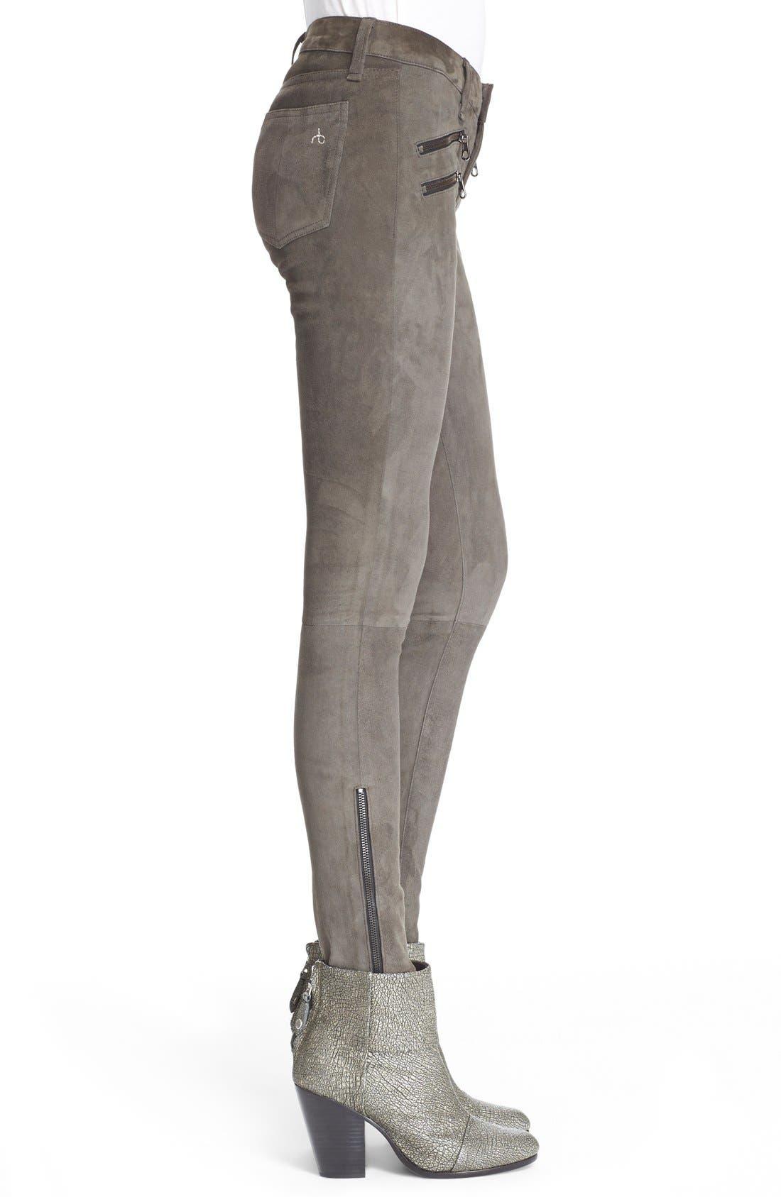 Alternate Image 3  - rag & bone/JEAN 'RBW23' Suede Skinny Pants