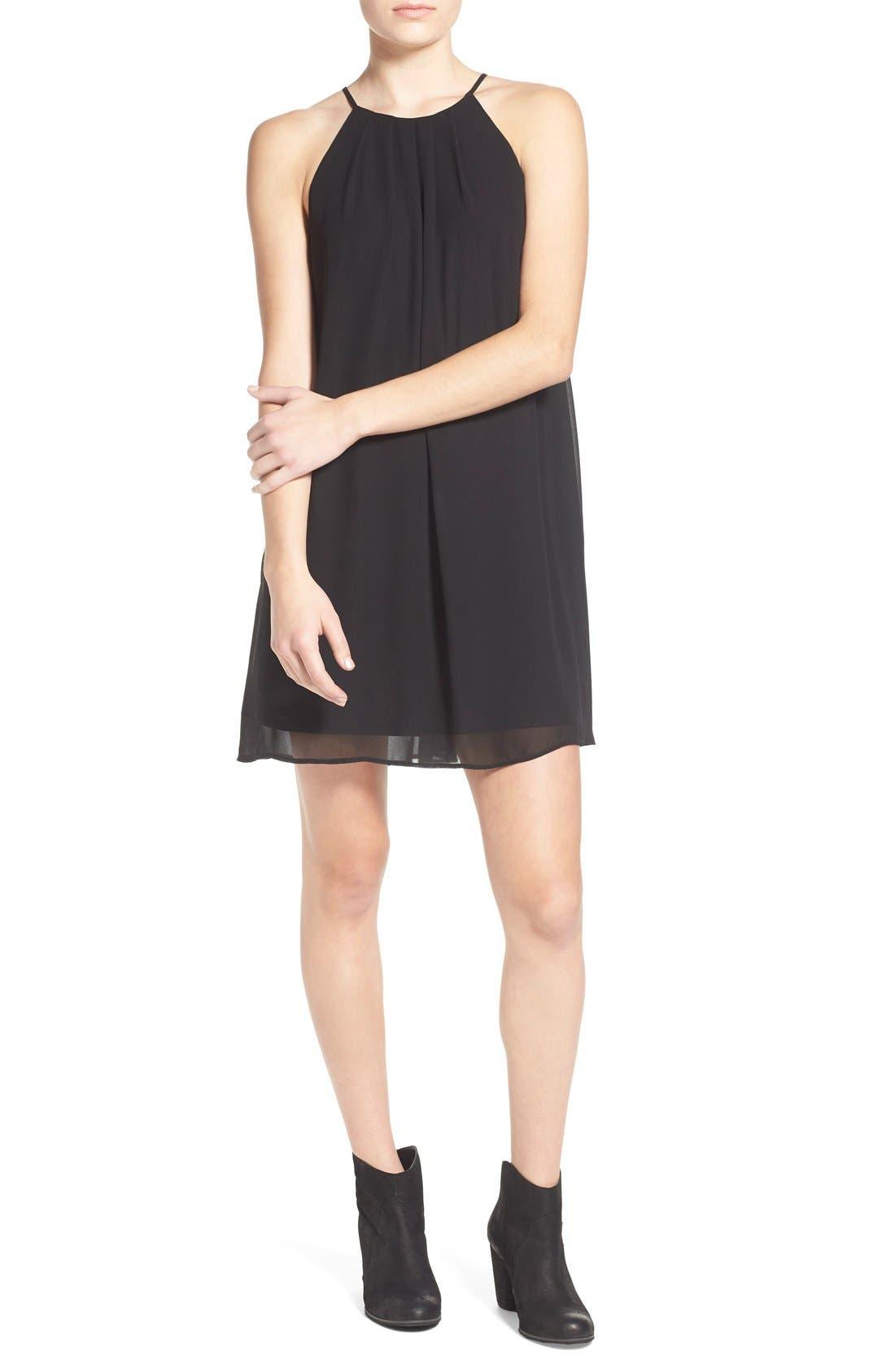Main Image - Lush Pleat Detail Chiffon Trapeze Dress