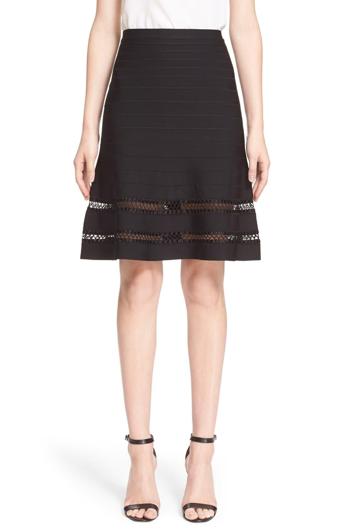 Alternate Image 1  - Herve Leger 'Amelie' Crochet Cage Stitch Bandage Skirt