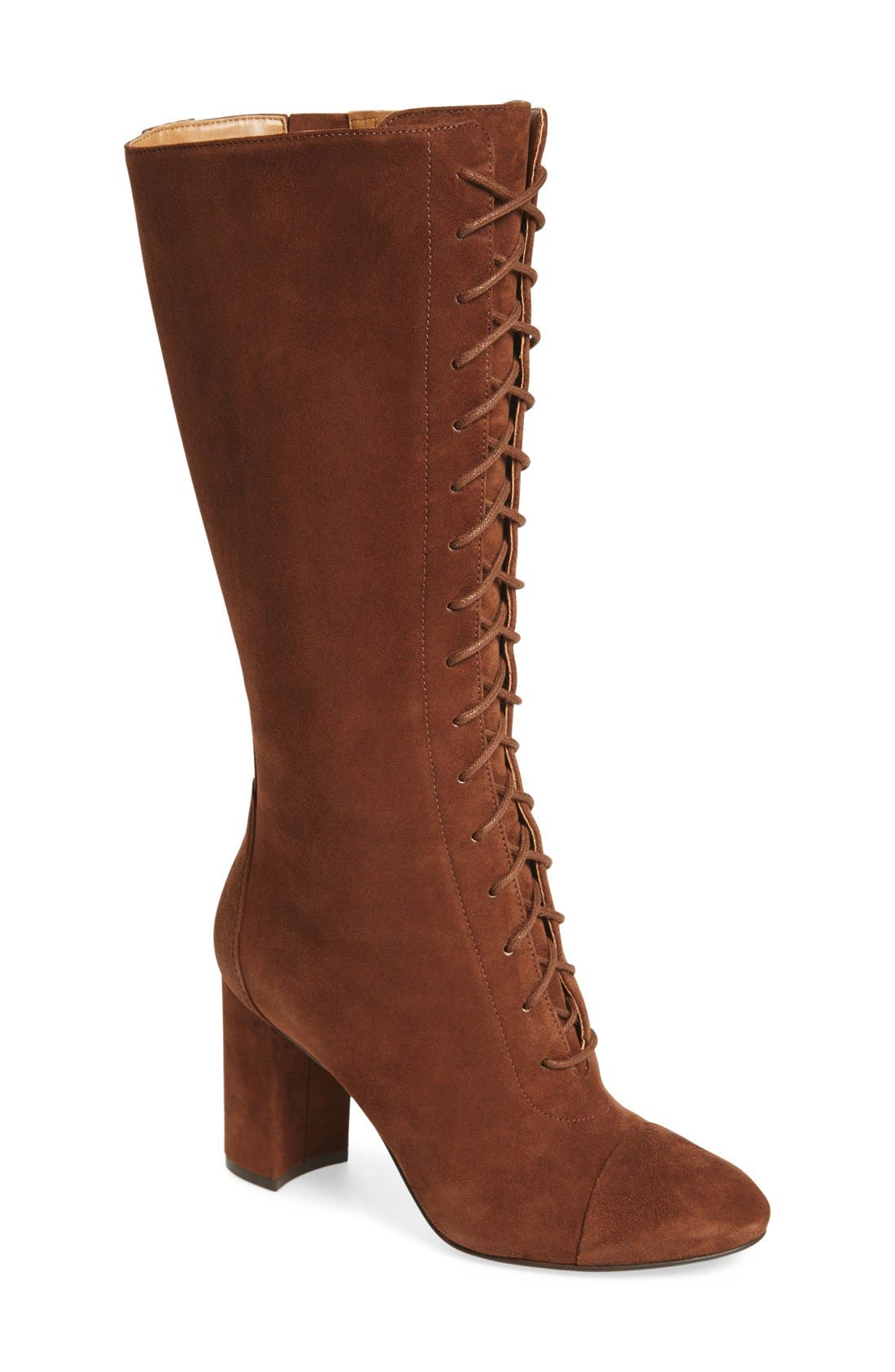 Alternate Image 1 Selected - Nine West 'Waterfall' Lace-Up Knee High Boot (Women)