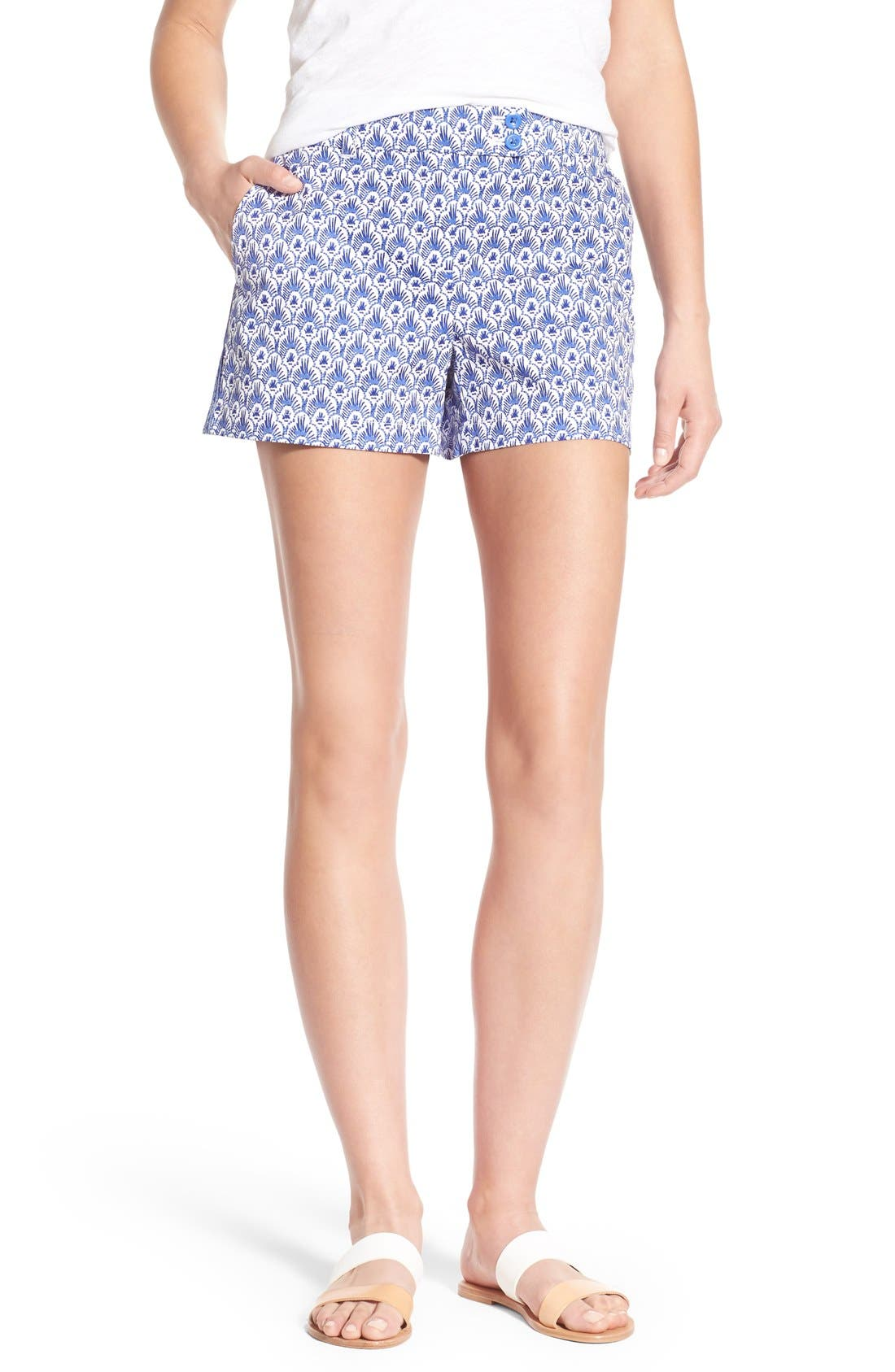 Alternate Image 1 Selected - Vineyard Vines Feather Print Stretch Cotton Shorts
