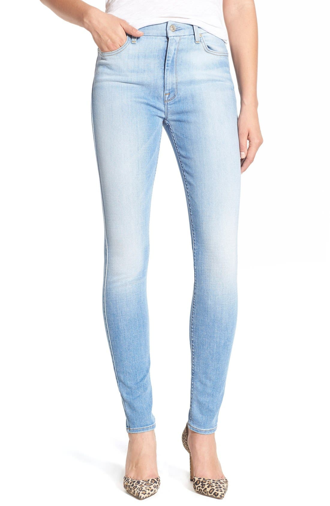Main Image - 7 For All Mankind® High Rise Skinny Jeans (Mediterranean Sky)