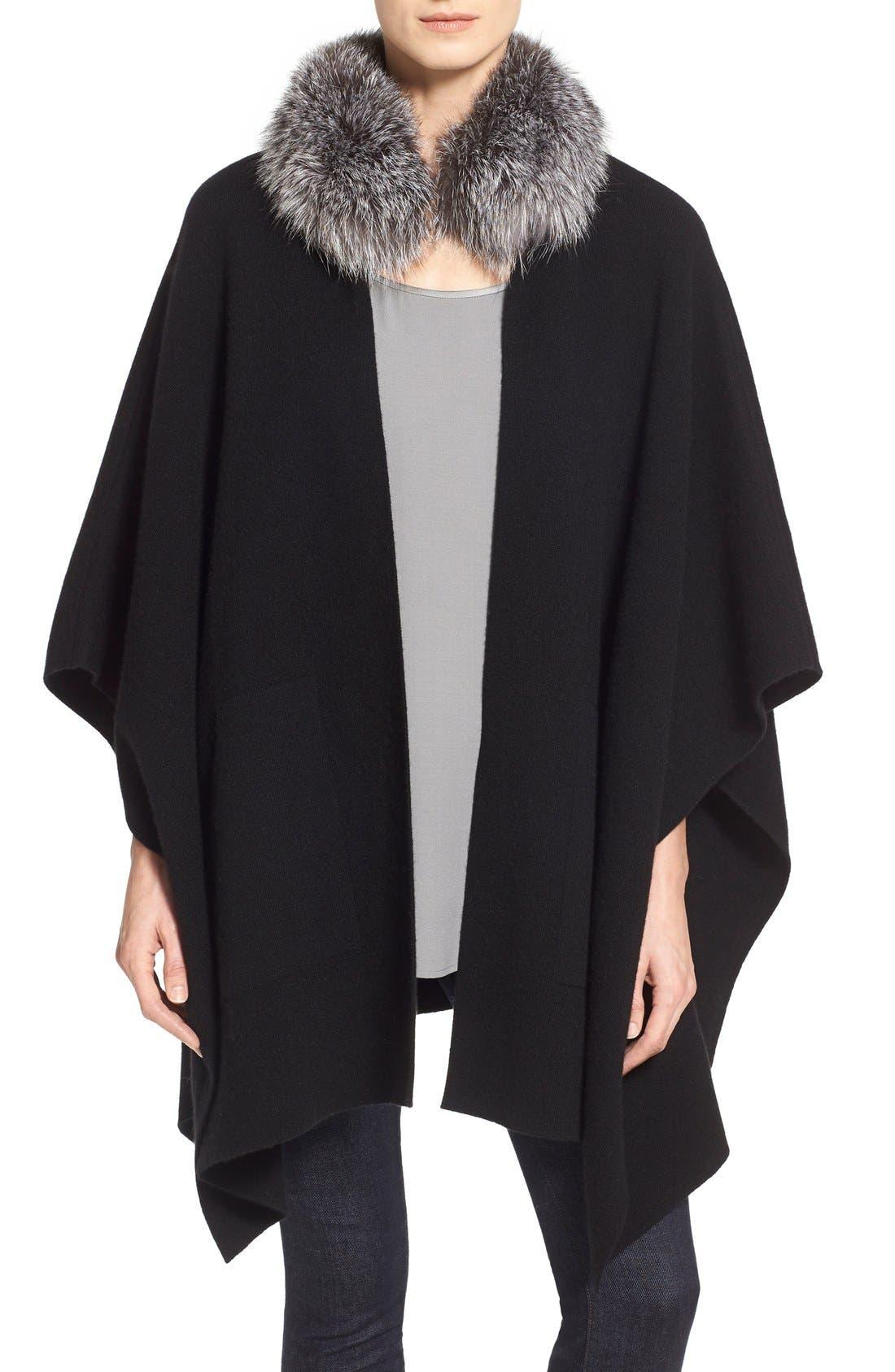 Main Image - Sofia Cashmere Genuine Fox Fur Collar Cashmere Cape