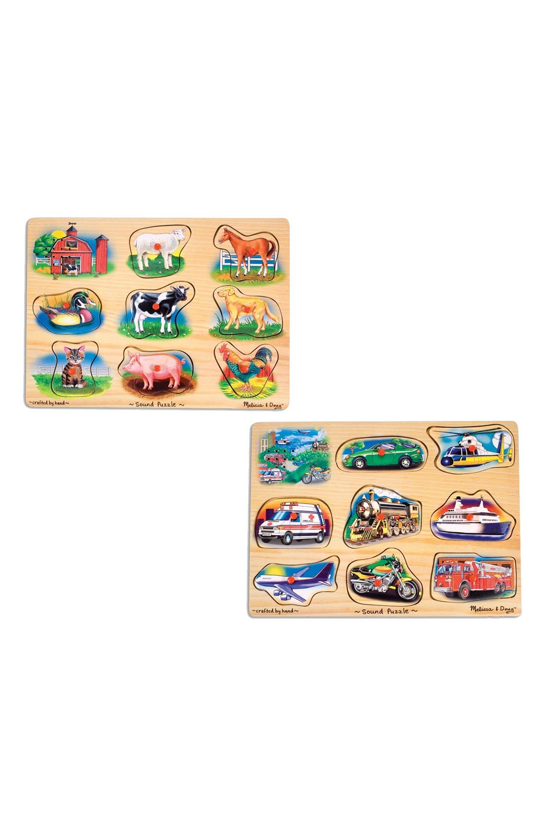 Melissa & Doug Farm & Vehicle Sound Puzzles (Set of 2)