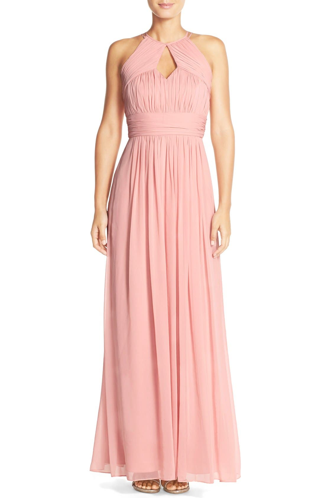 Dessy Collection Ruched Chiffon Keyhole Halter Gown