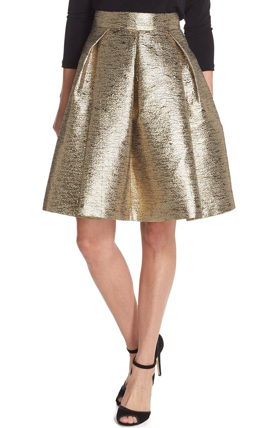 Main Image - Eliza J Metallic Jacquard Flared Skirt