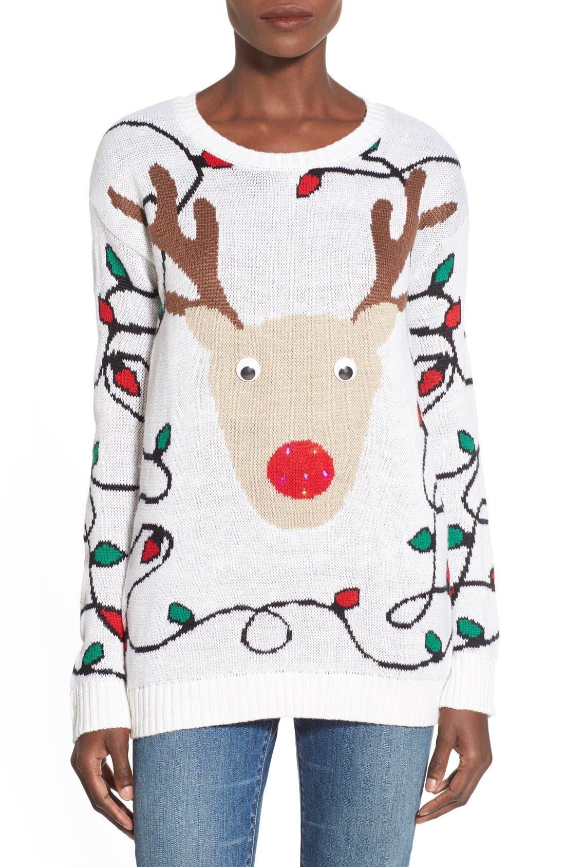 Main Image - Derek Heart Light-Up Reindeer Jacquard Christmas Sweater