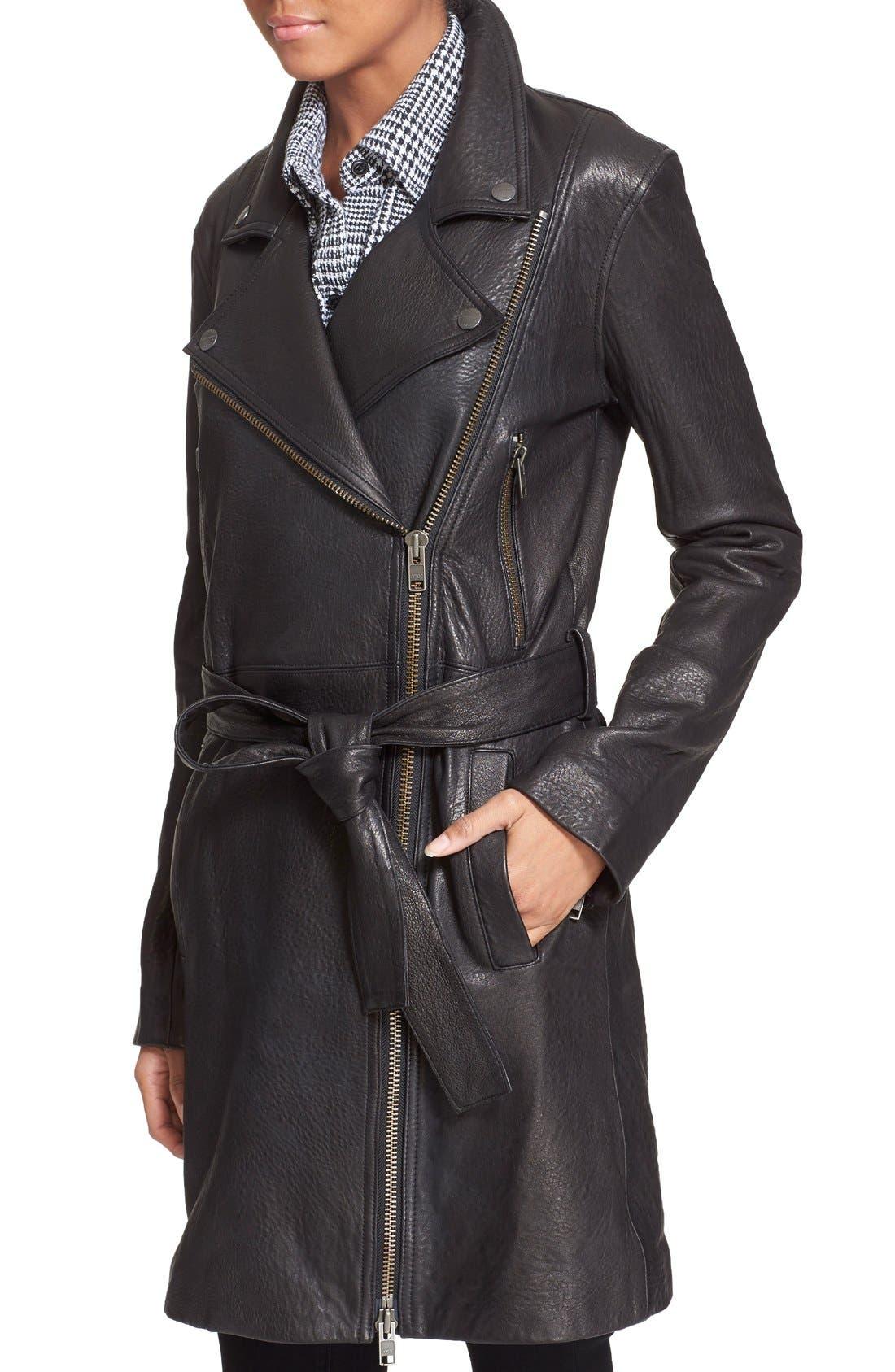 Alternate Image 4  - Current/Elliott 'The Long Moto' Lambskin Leather Moto Trench Coat