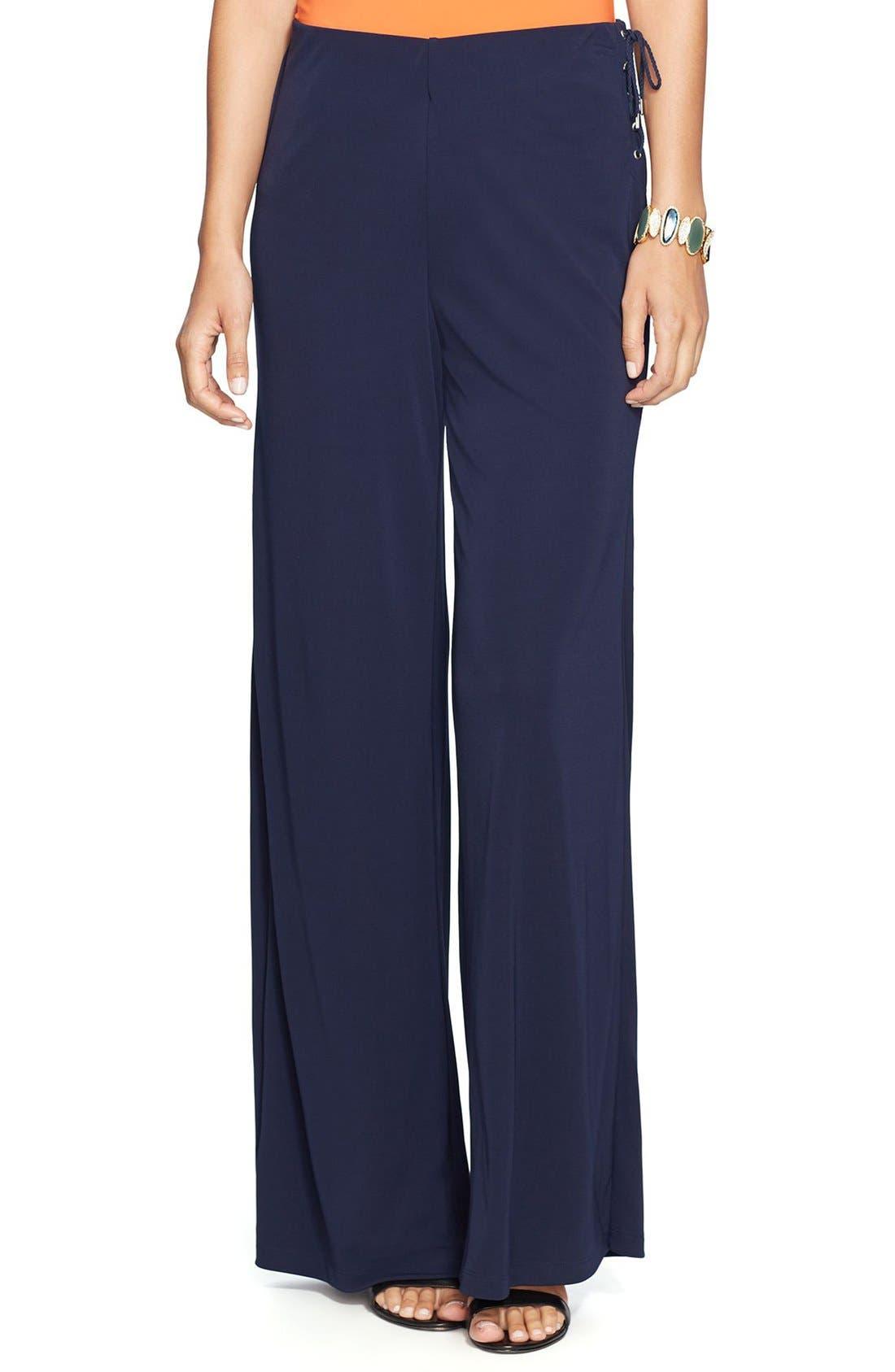 Main Image - Lauren Ralph Lauren Lace-Up Wide Leg Jersey Pants