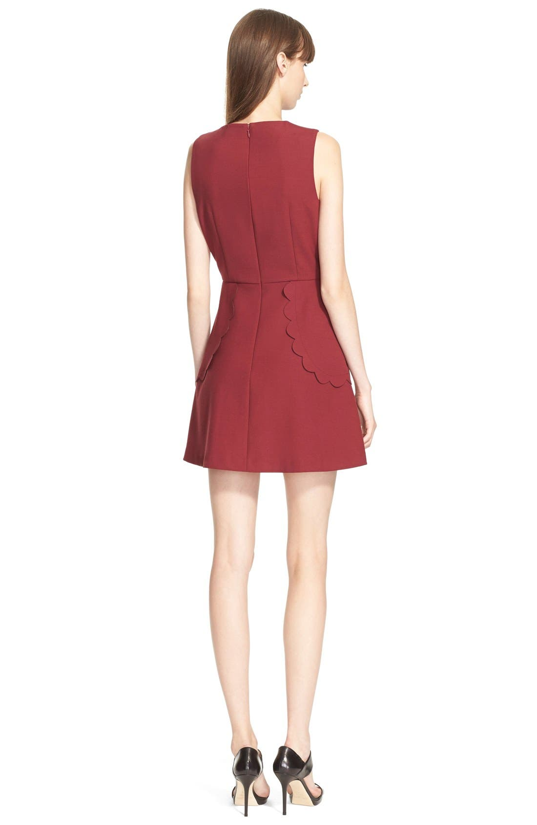 Alternate Image 2  - RED Valentino Scallop Detail Cady Tech A-Line Dress