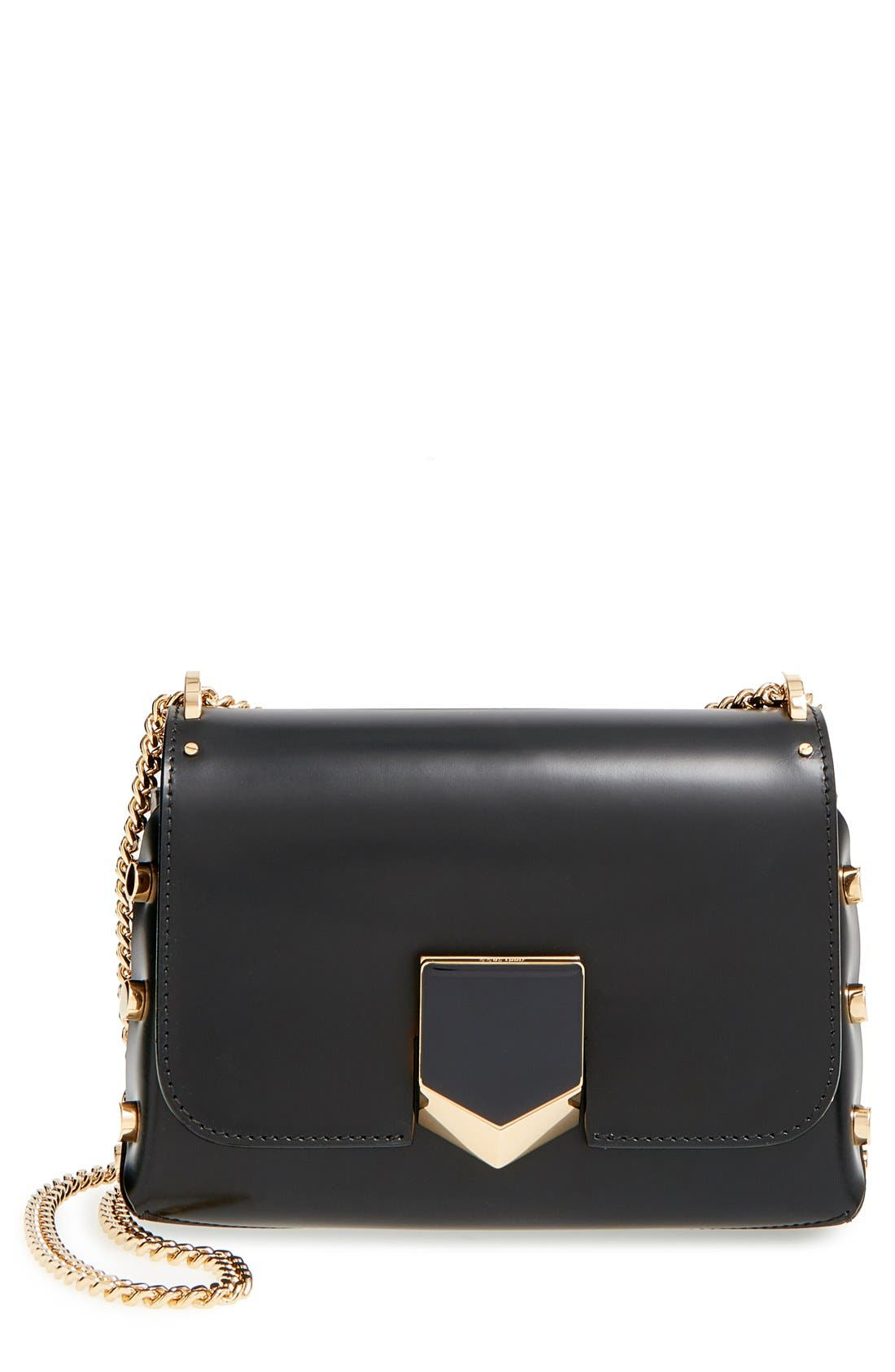JIMMY CHOO 'Lockett Petite' Spazzolato Leather Shoulder Bag