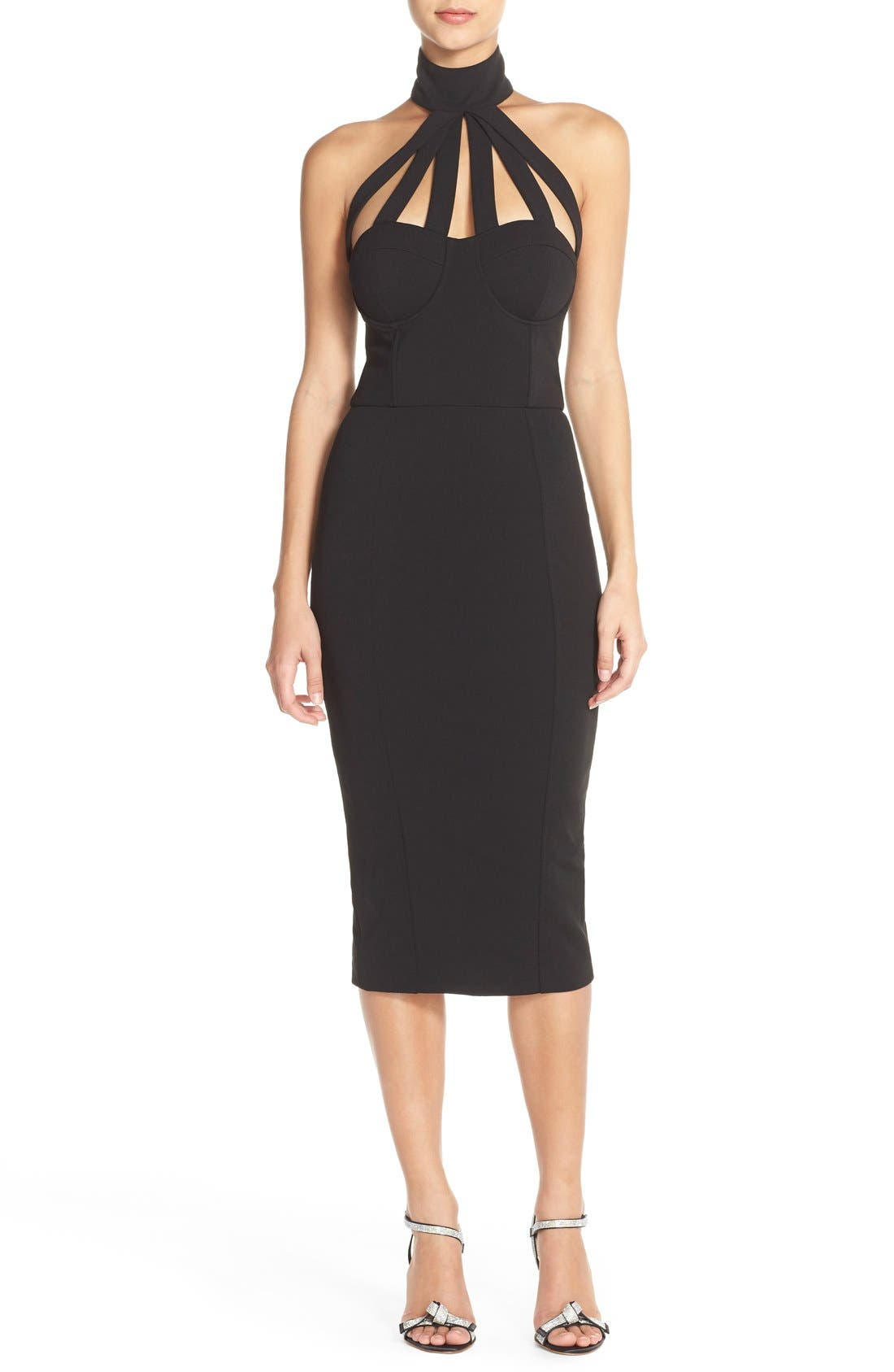Alternate Image 4  - Misha Collection 'Aliza' Halter Jersey Sheath Dress