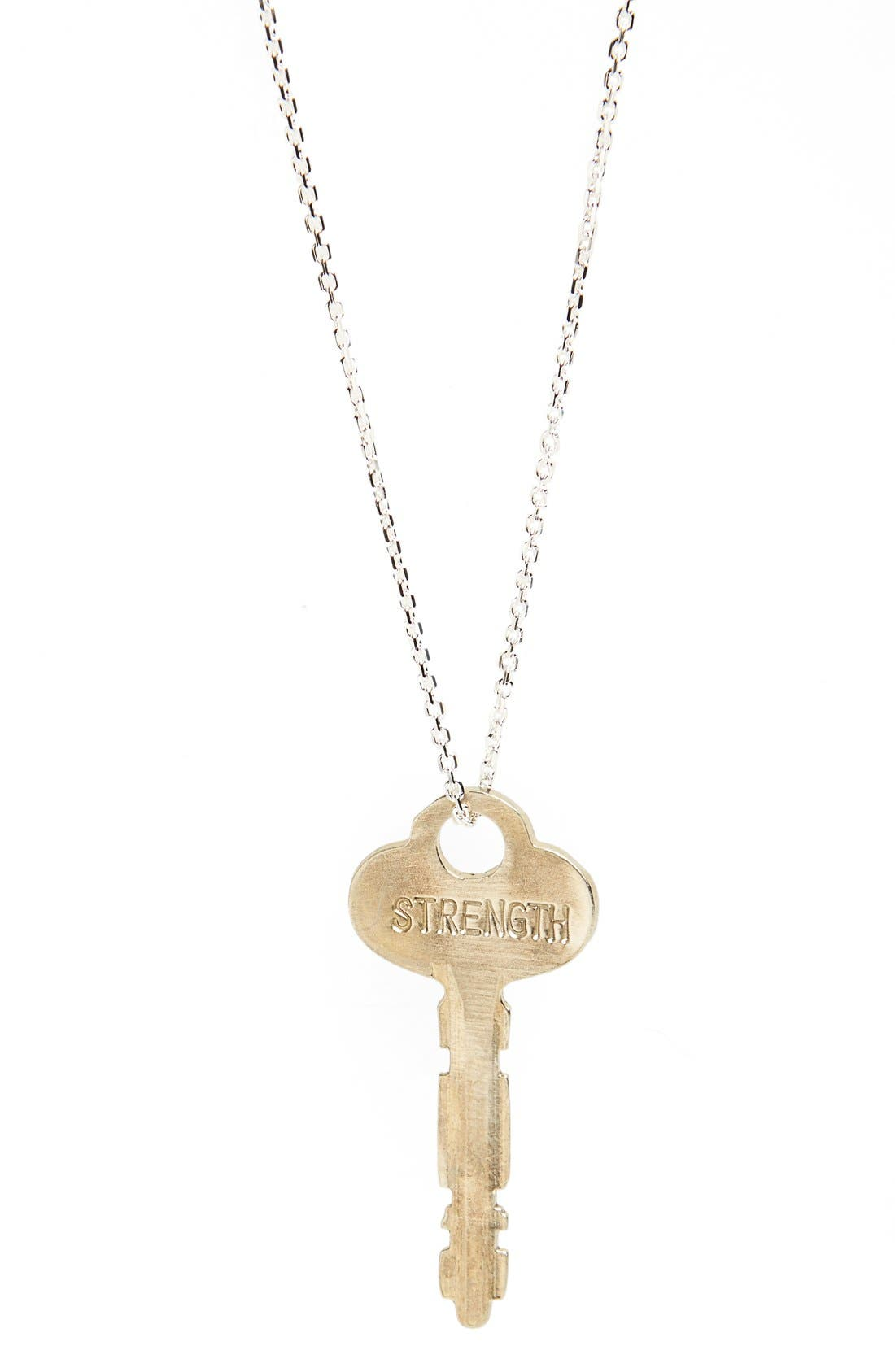 Alternate Image 1 Selected - The Giving Keys 'Dainty - Forever' 36-Inch Silver Key Pendant Necklace