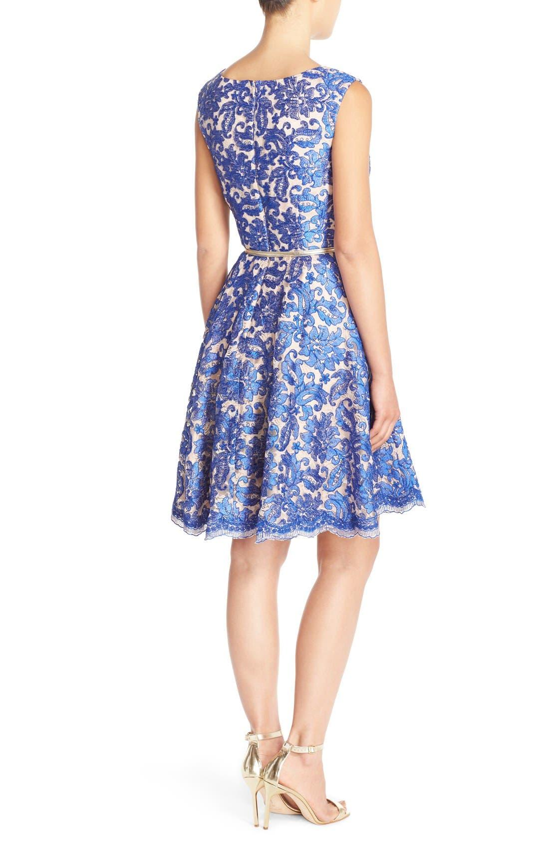 Alternate Image 2  - Eliza J Embroidered Lace Fit & Flare Dress (Regular & Petite)
