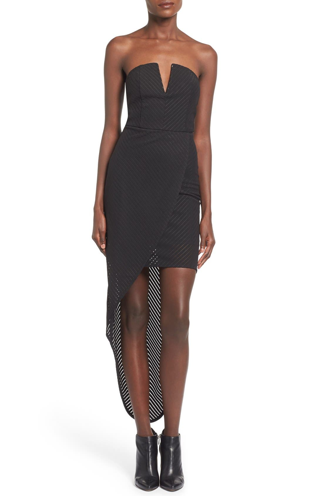 Alternate Image 1 Selected - Missguided Stripe Strapless High/Low Dress