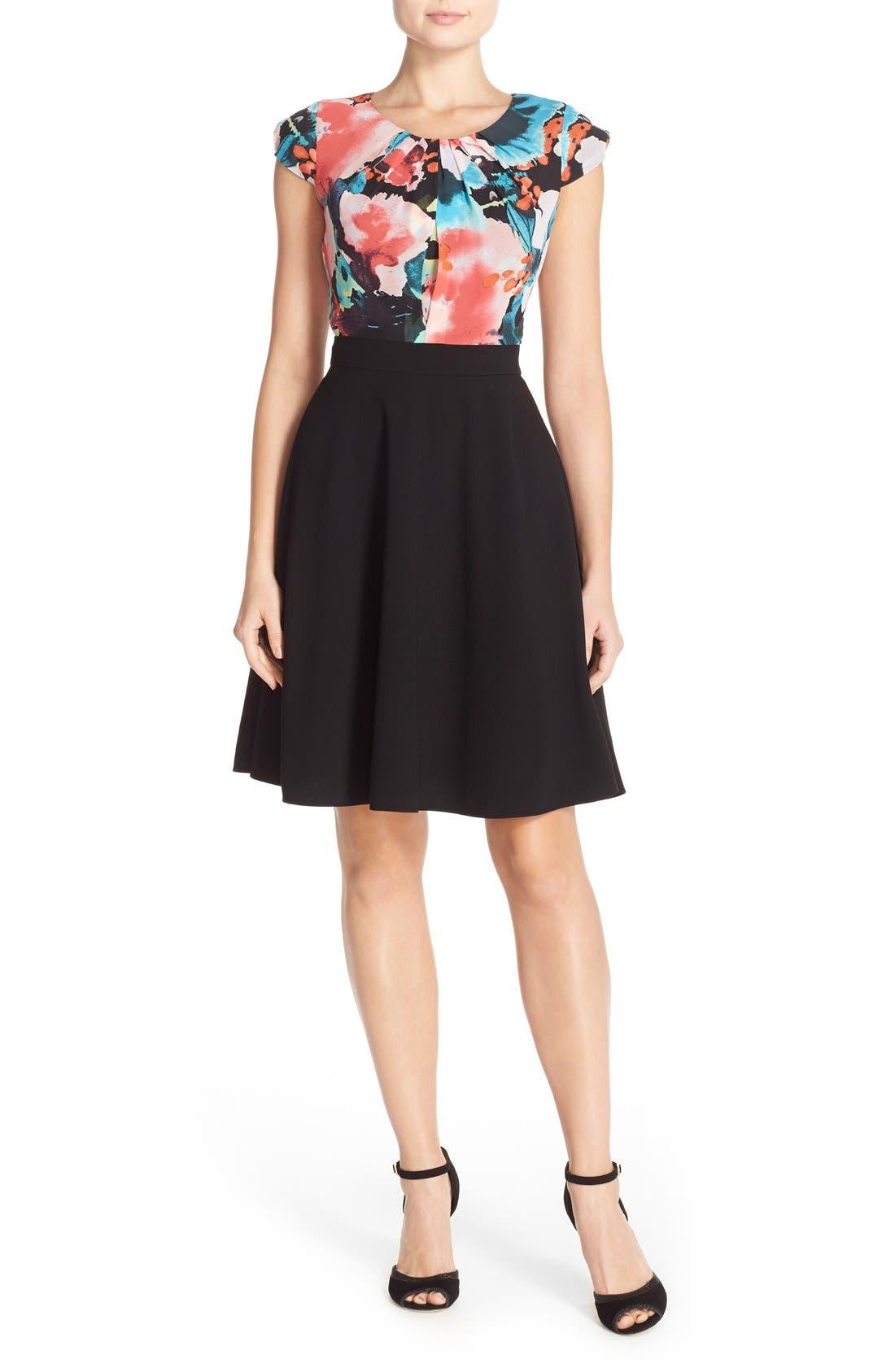 Alternate Image 5  - Tahari Floral Print Fit & Flare Dress (Regular & Petite)