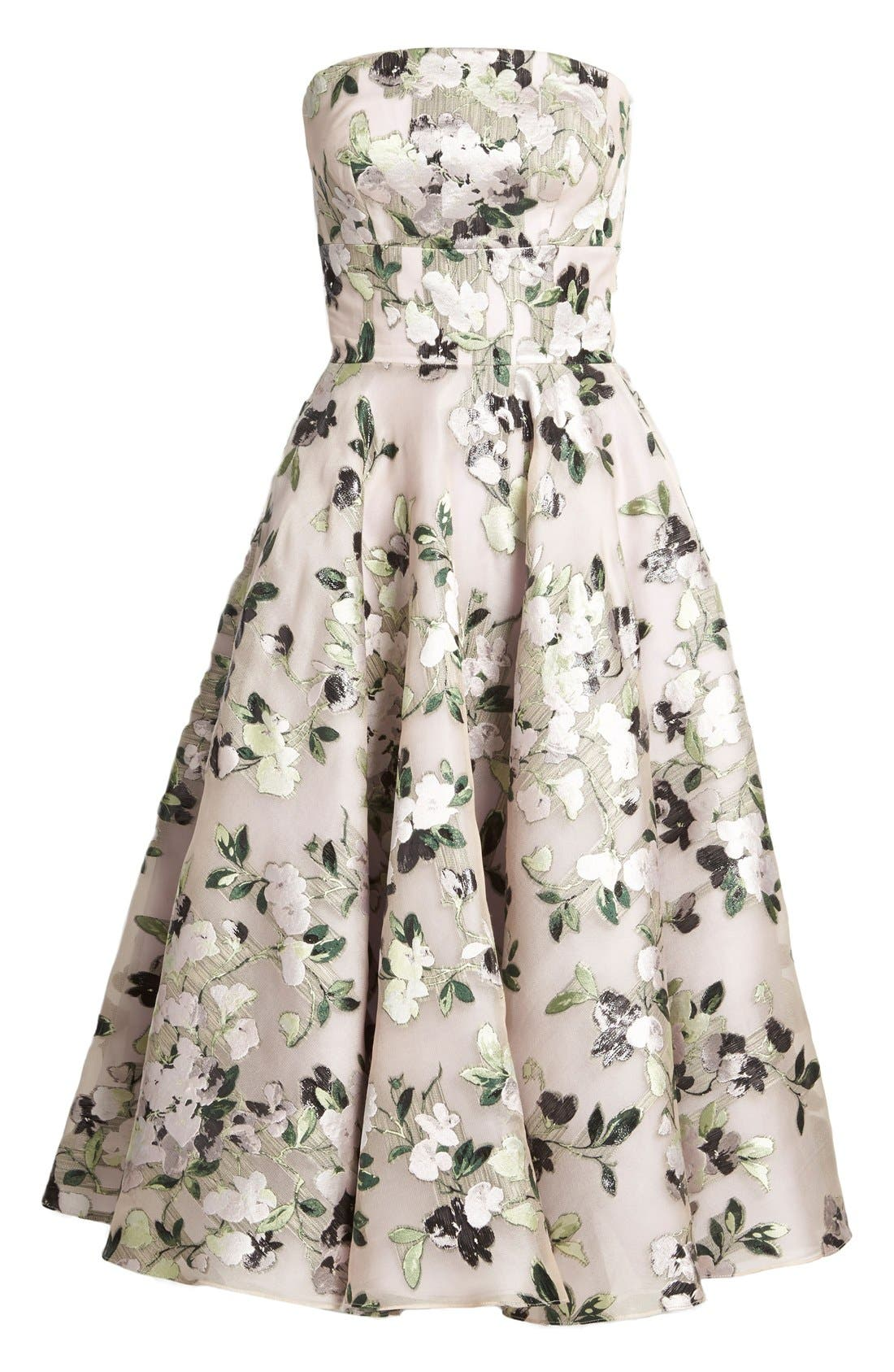 Alternate Image 4  - Alexander McQueen Floral Print Strapless Fit & Flare Dress