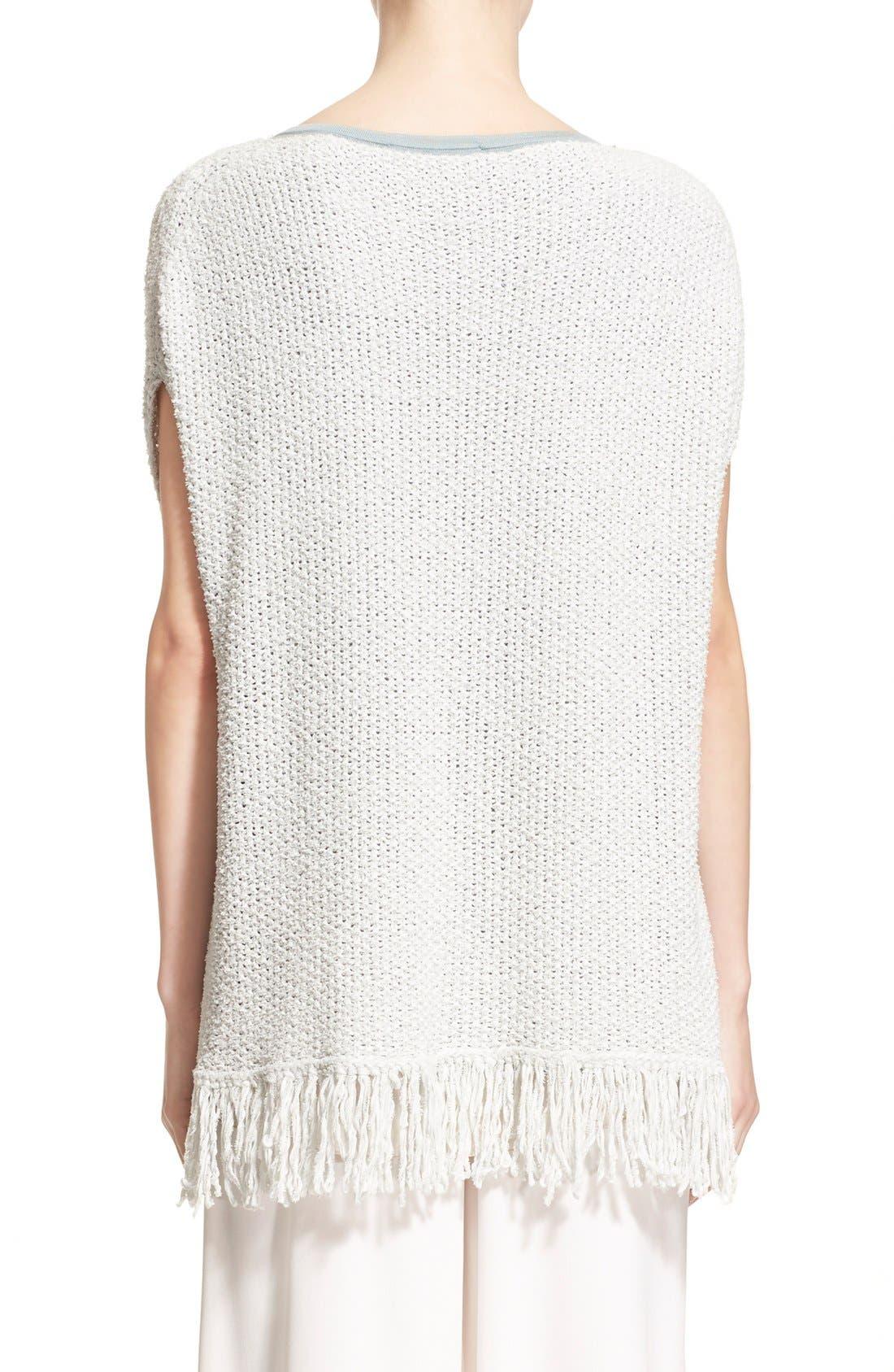 Alternate Image 2  - Fabiana Filippi Fringe Trim Cotton Blend Poncho Sweater