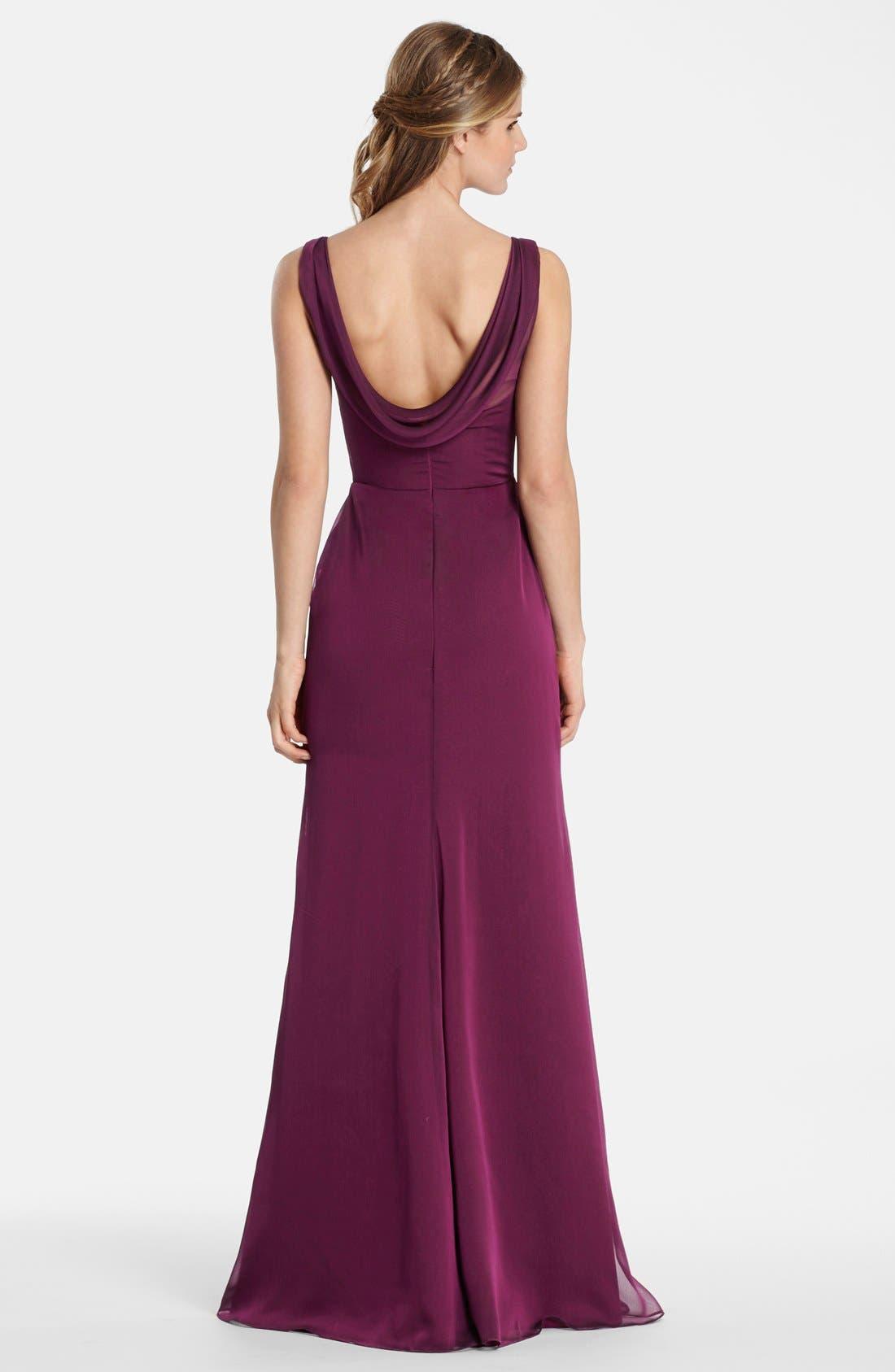 Alternate Image 2  - Jim Hjelm Occasions Drape Back Luminescent Chiffon A-Line Gown