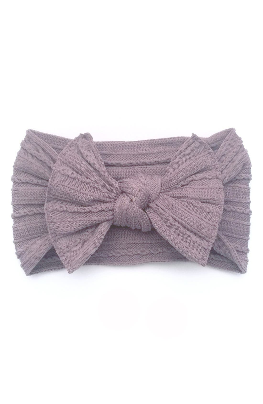 Main Image - Baby Bling Cable Knit Bow Headband (Baby Girls)