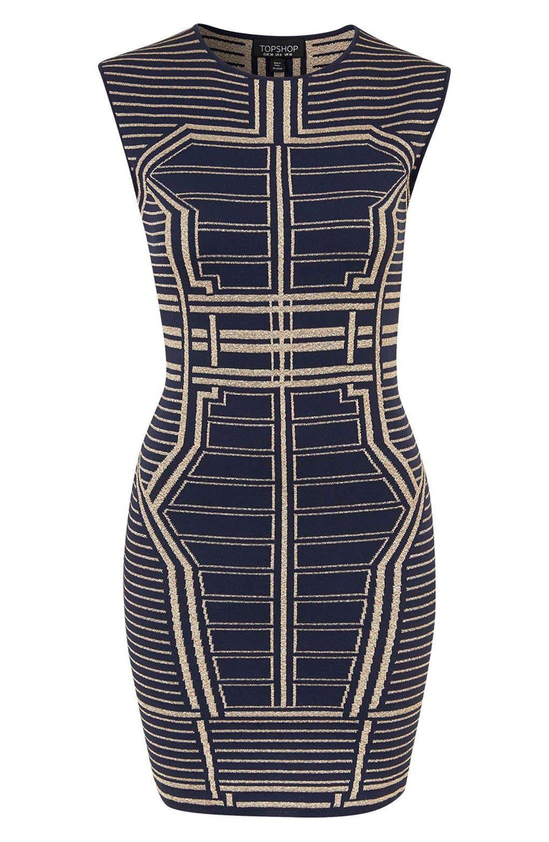 Alternate Image 4  - Topshop Metallic Geo Body-Con Dress