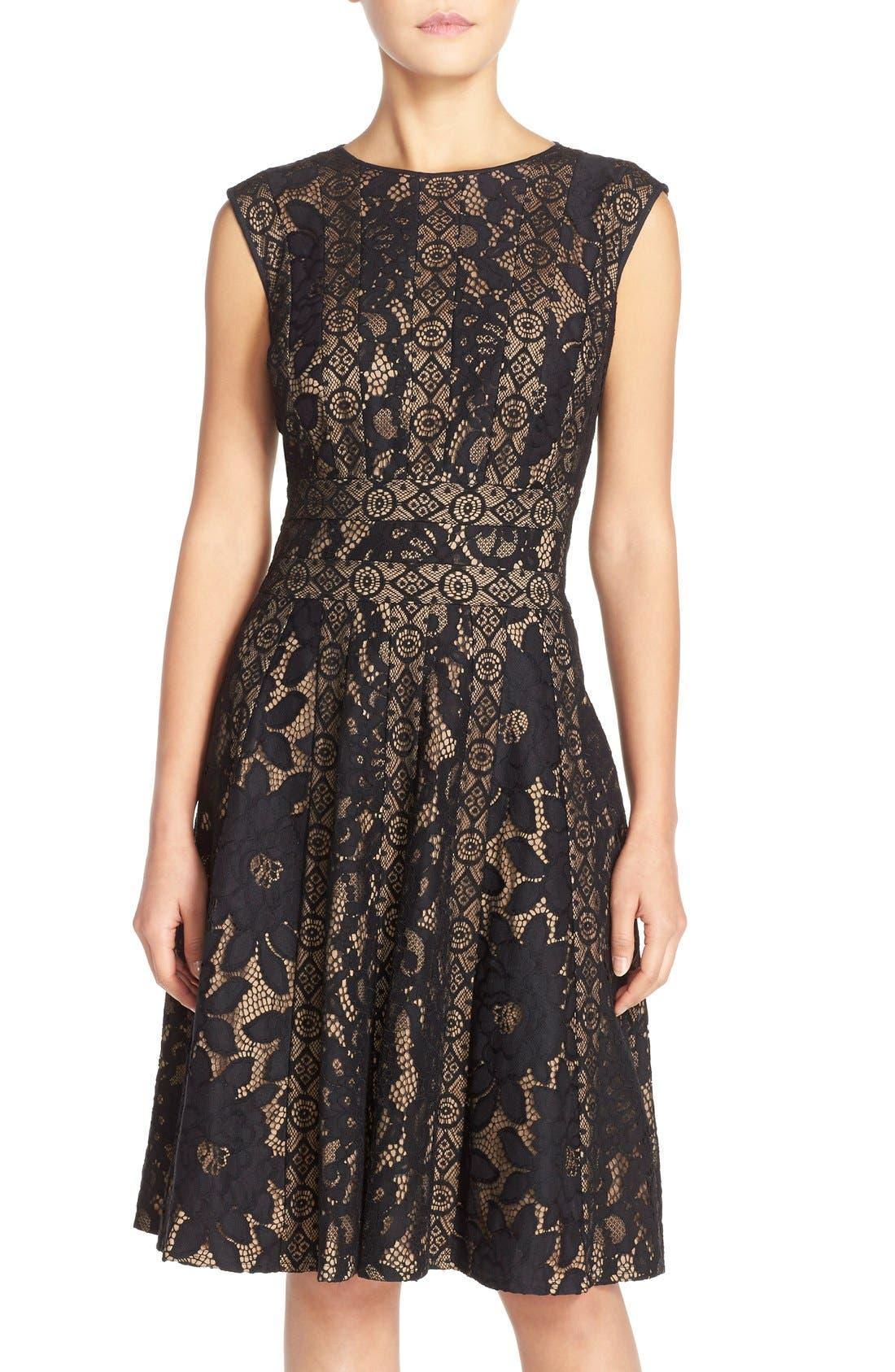 Alternate Image 1 Selected - Tadashi Shoji Mixed Lace Fit & Flare Dress