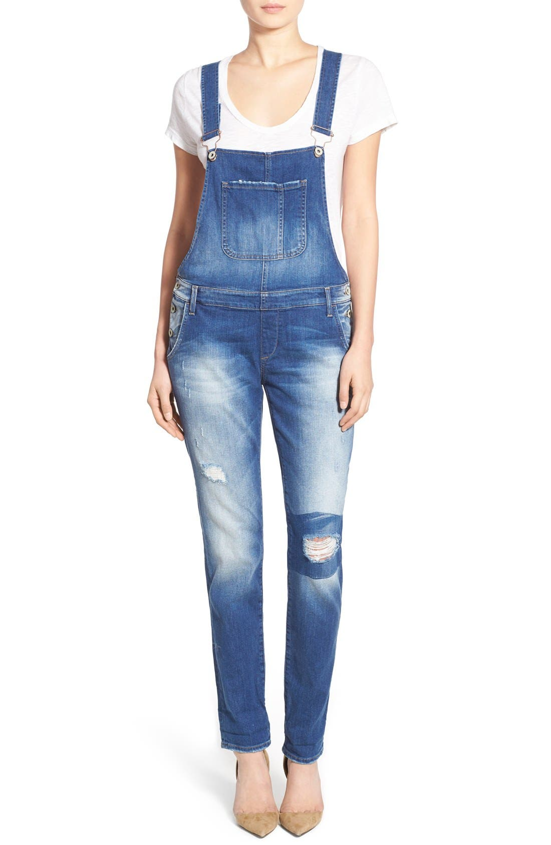 Main Image - Mavi Jeans 'Edera' Ripped Overalls (Patch Ripped)