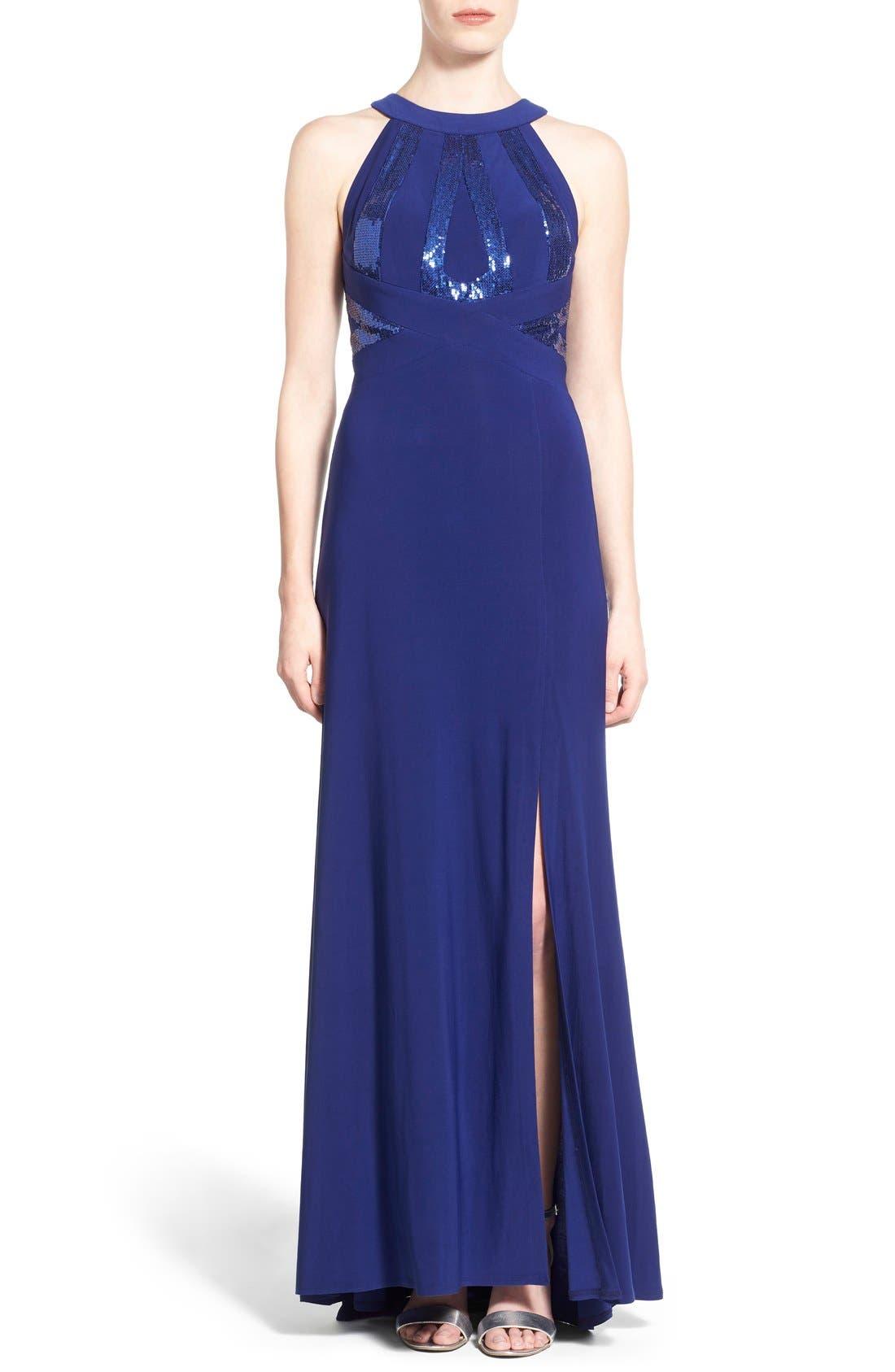 Main Image - Morgan & Co. Sequin Halter Gown