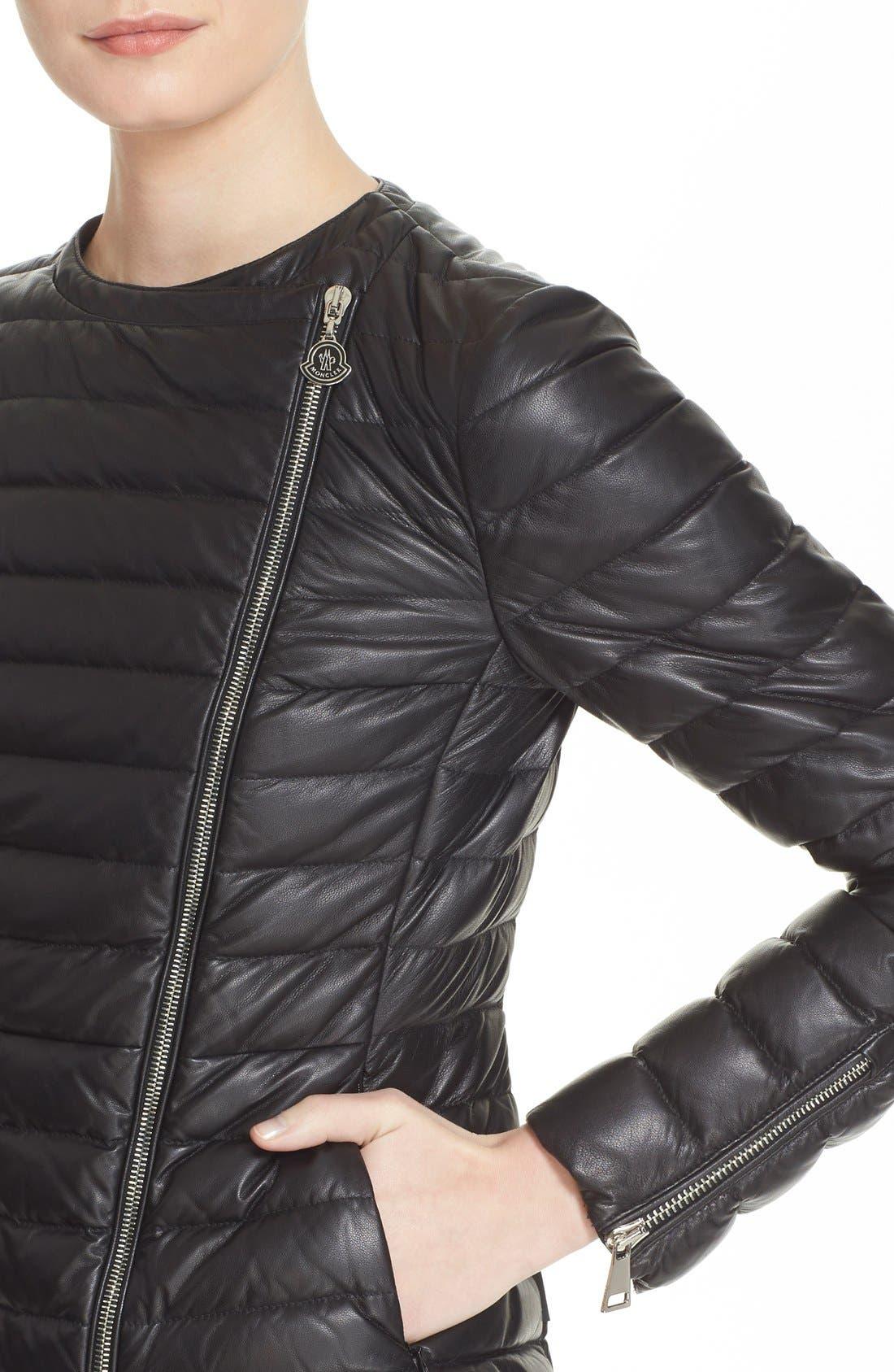 Alternate Image 6  - Moncler 'Palomete' Lambskin Leather Down Moto Jacket