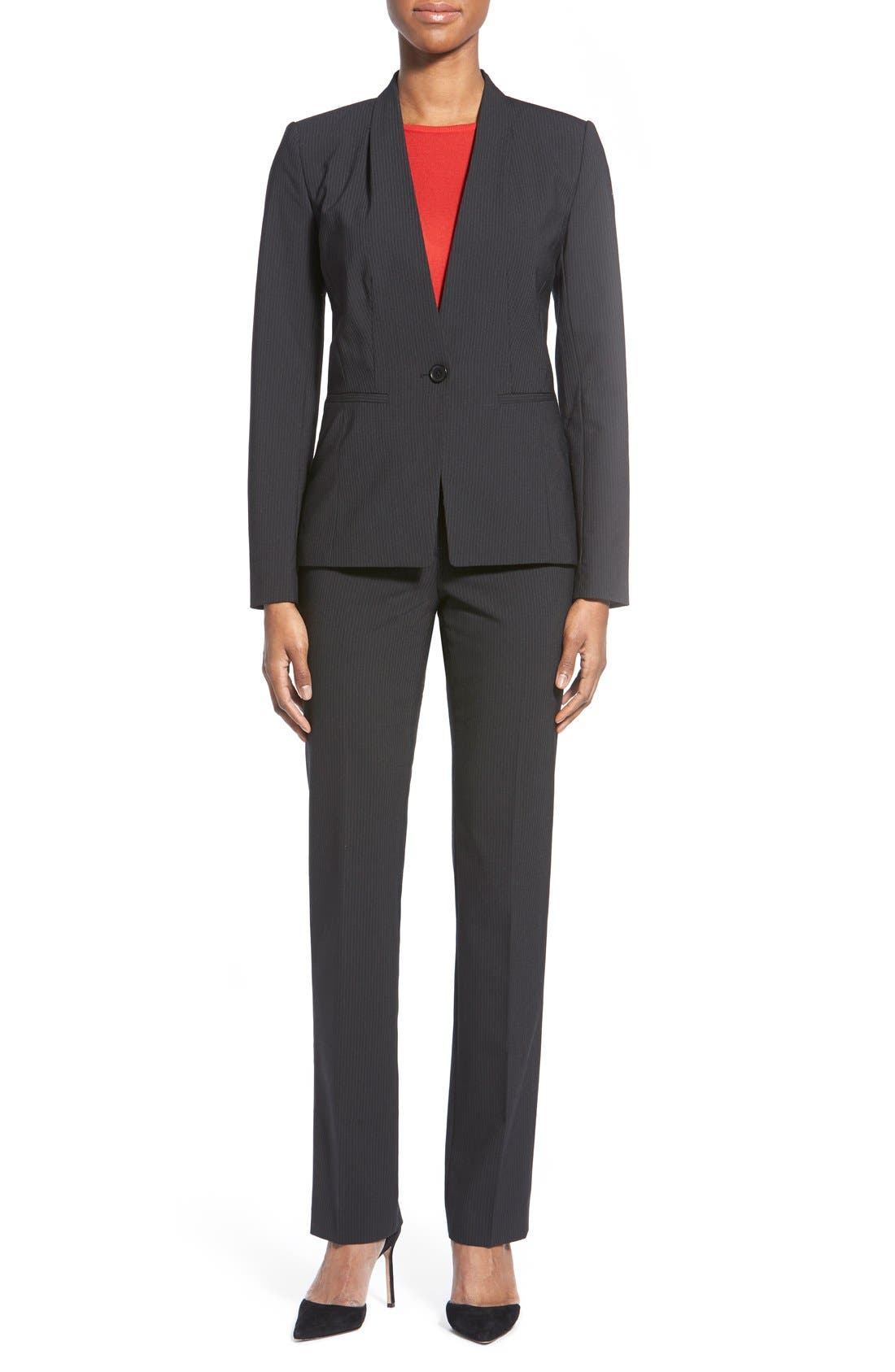 Alternate Image 2  - Halogen® Pinstripe Stretch Suit Pants (Regular & Petite)