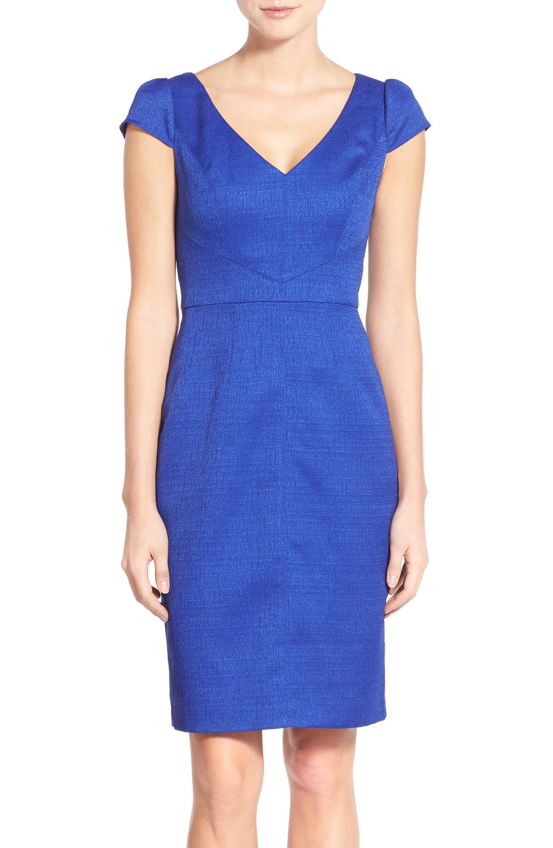Alternate Image 1 Selected - Adrianna Papell Cap Sleeve Jacquard Sheath Dress
