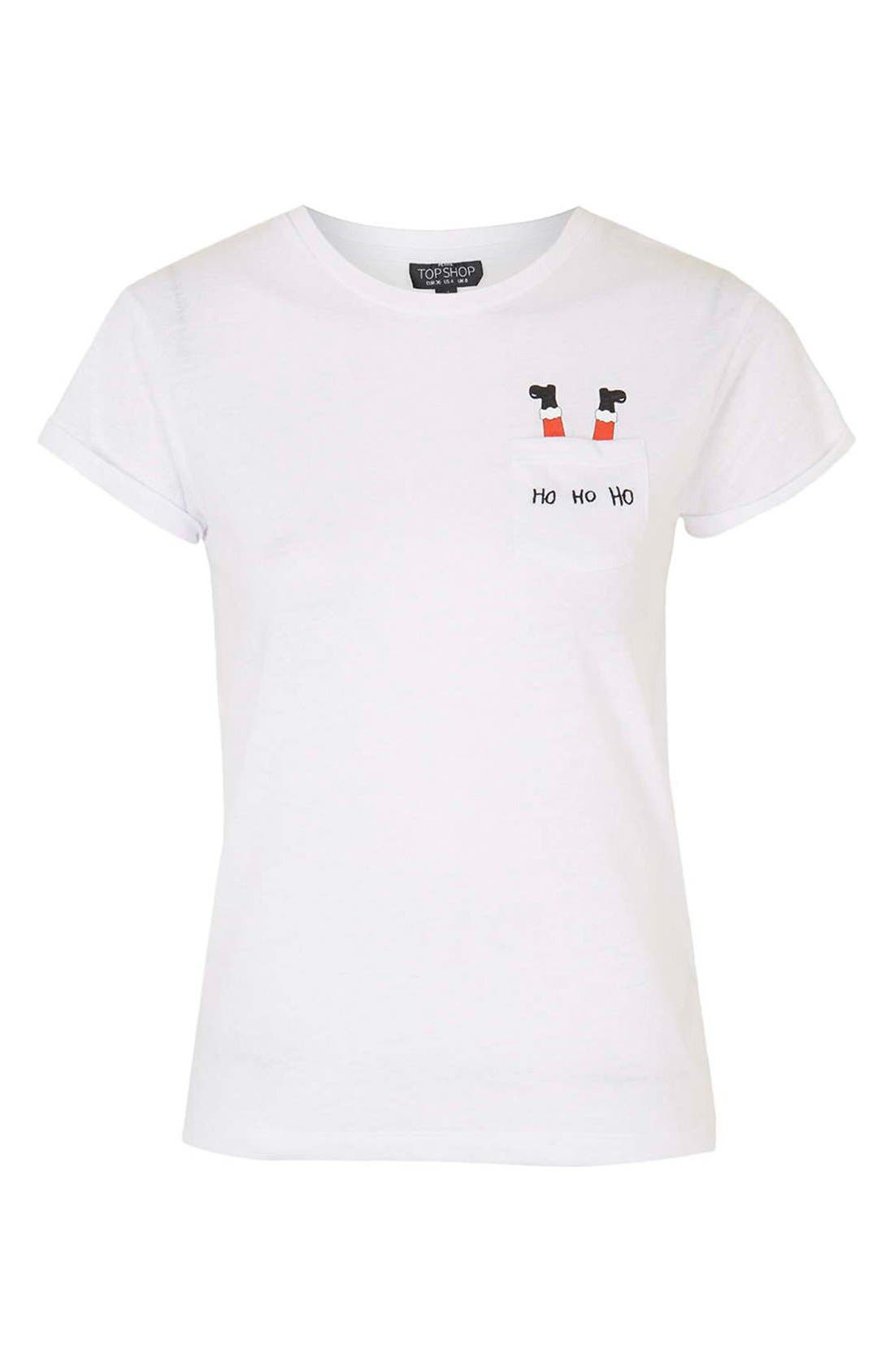 Alternate Image 4  - Topshop Santa Pocket Tee