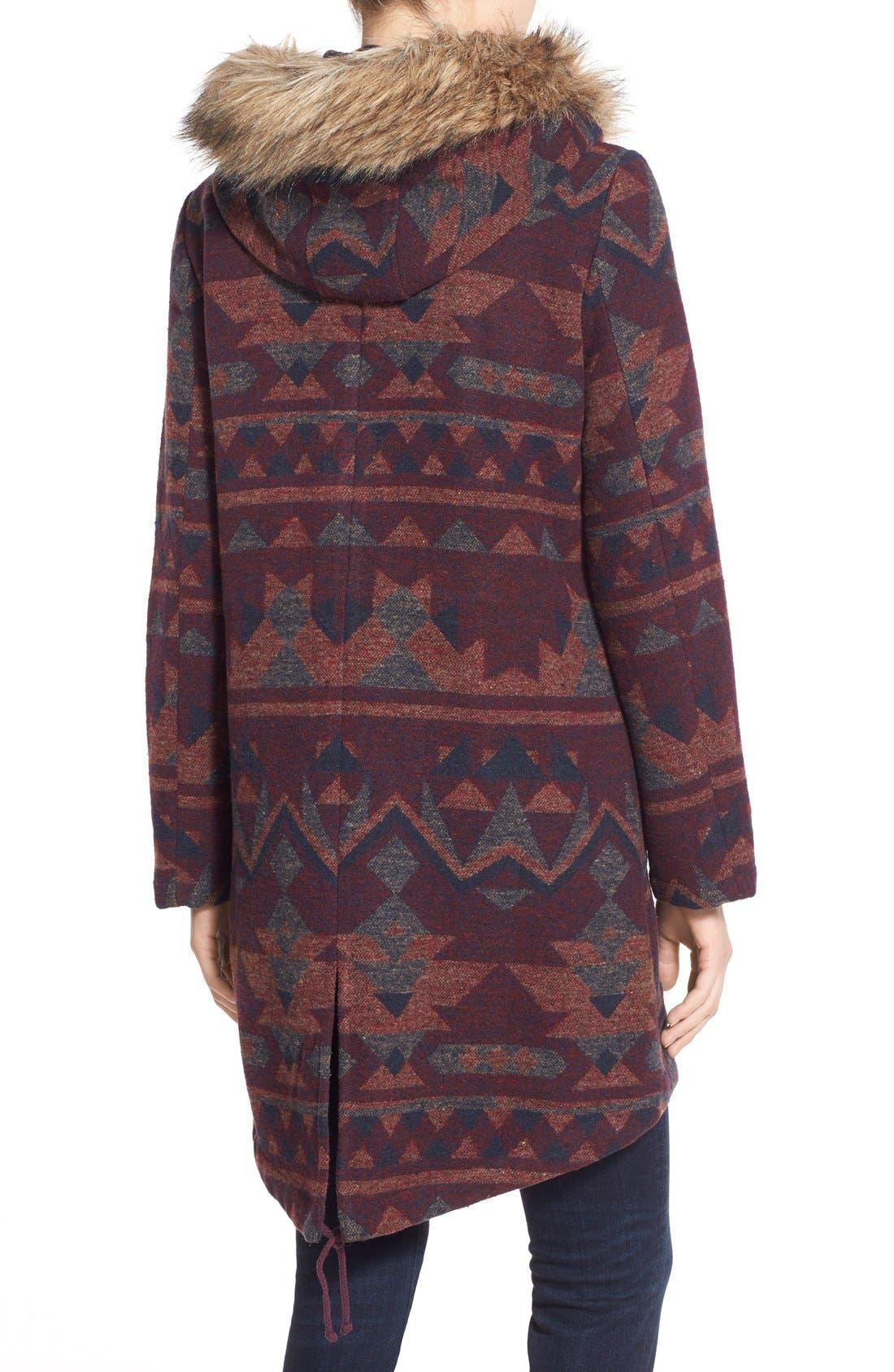 Alternate Image 2  - BB Dakota Faux Fur Trim Print Hooded Coat