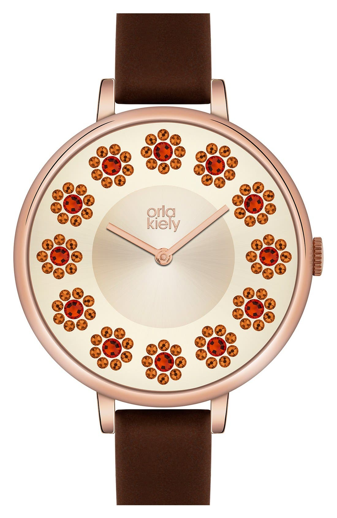 Alternate Image 3  - Orla Kiely 'Ivy' Crystal Dial Leather Strap Watch, 40mm