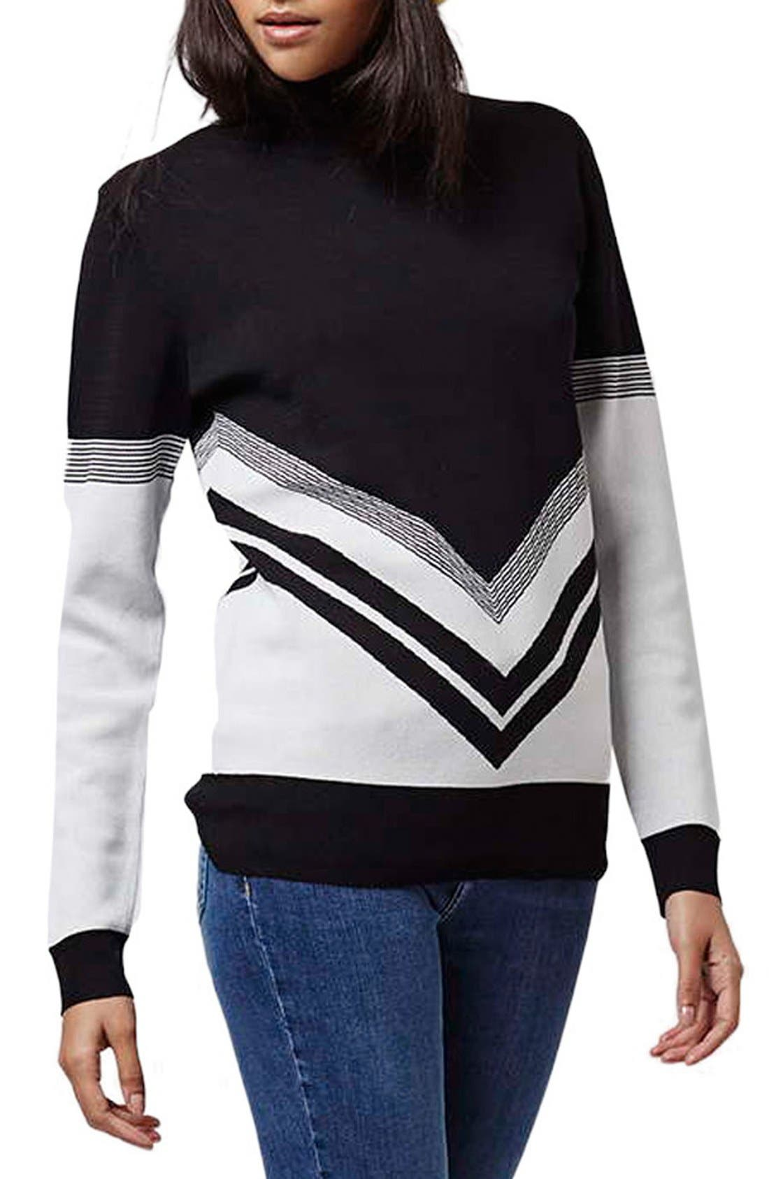 Main Image - Topshop Chevron Colorblock Sweater