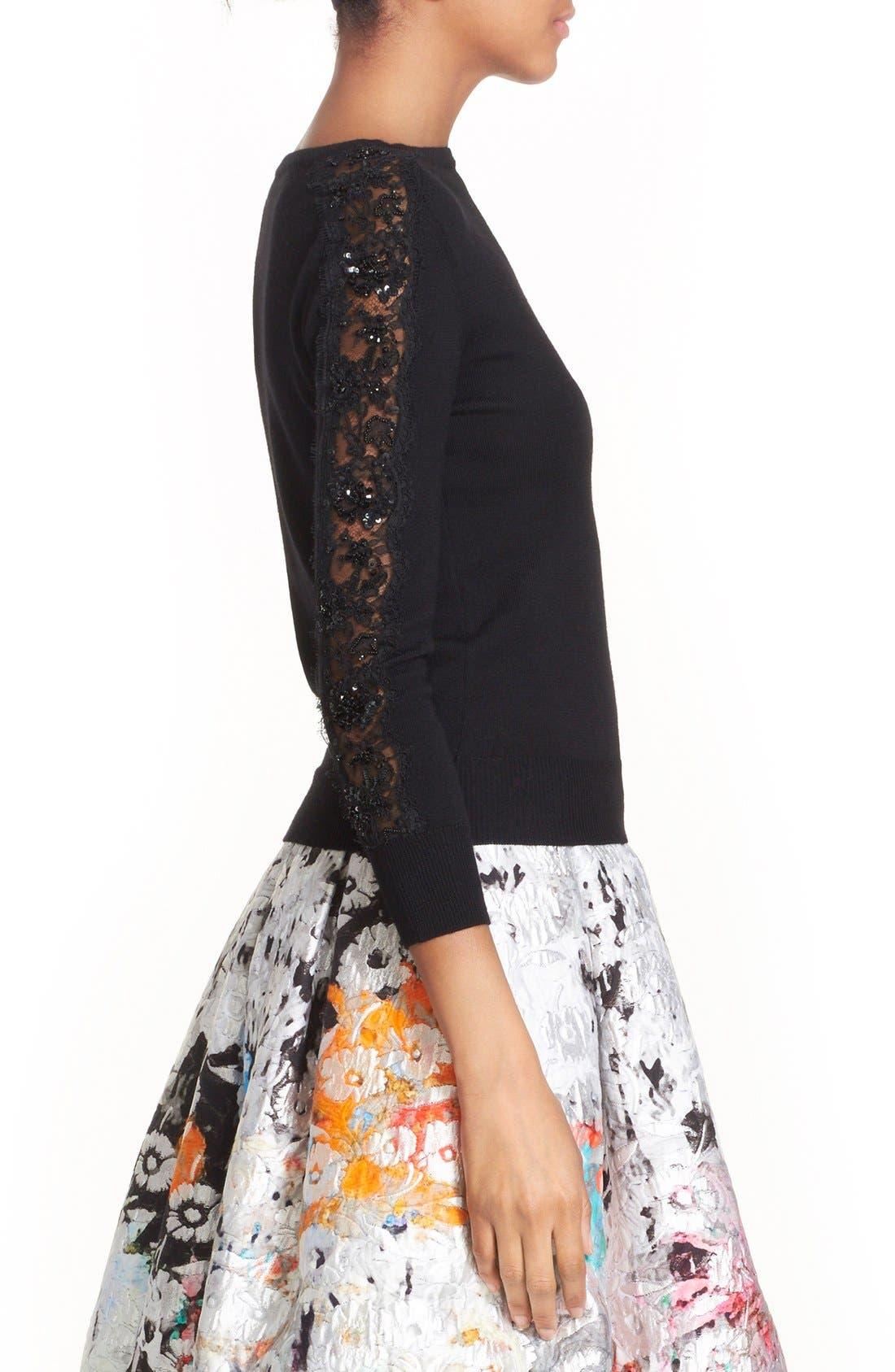 Alternate Image 3  - Oscar de la Renta Embellished Floral Lace Inset Wool Sweater