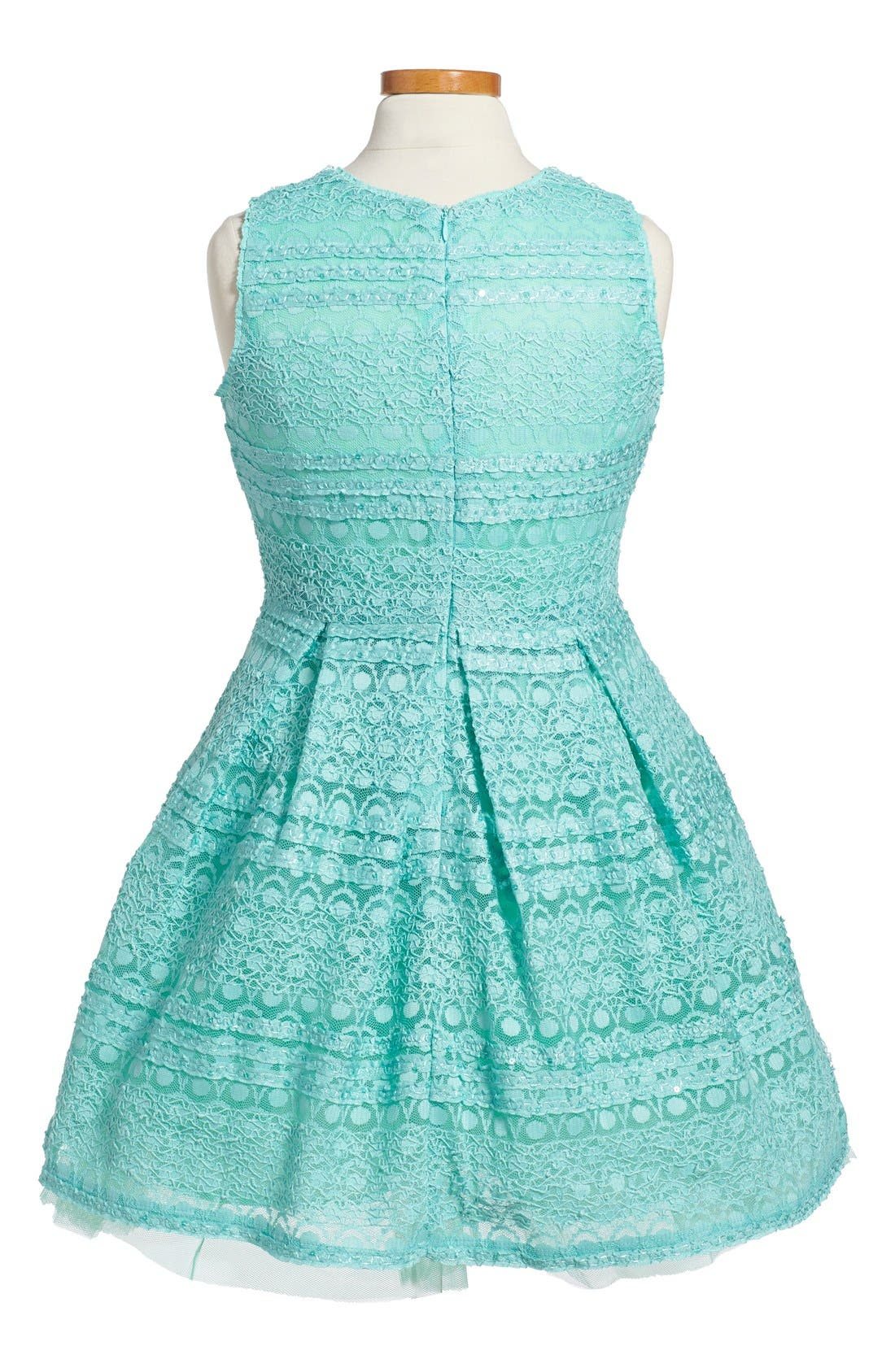 Alternate Image 2  - Soprano Lace Skater Dress (Big Girls)