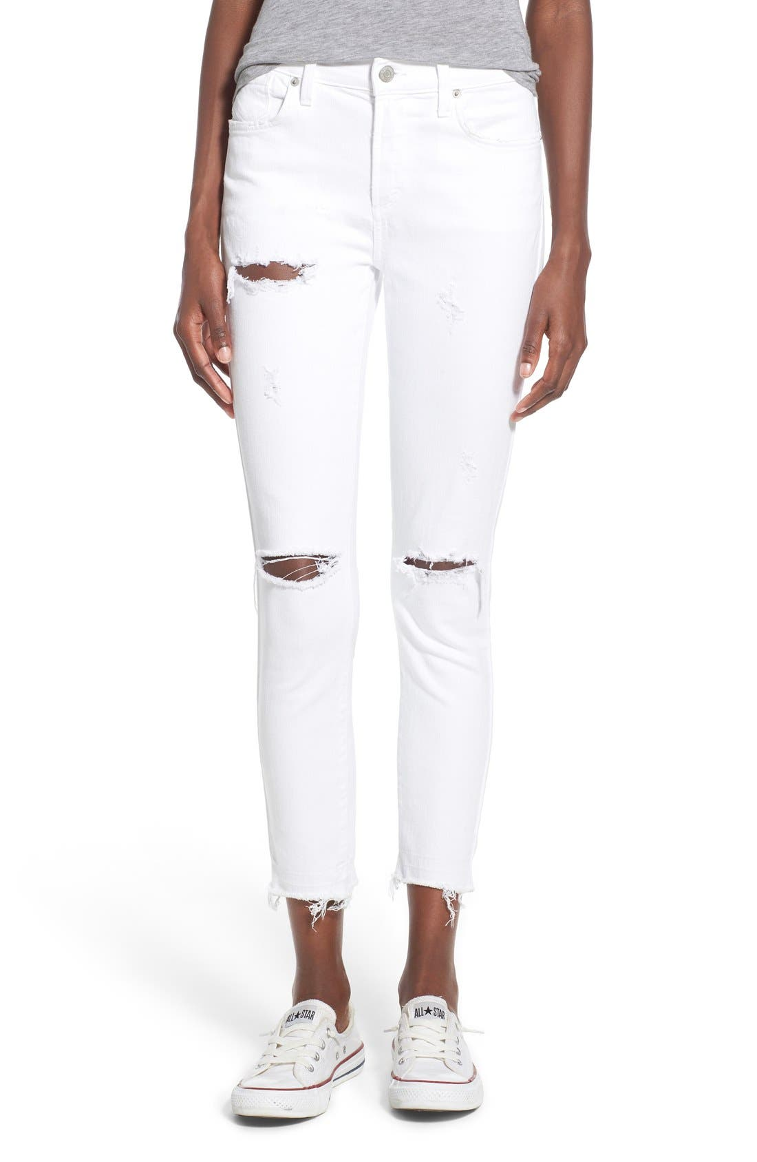 Main Image - A Gold E 'Sophie' Distressed Crop Skinny Jeans (Off Spring)