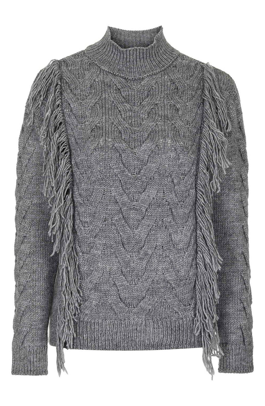 Alternate Image 4  - Topshop Fringe Cable Knit Sweater