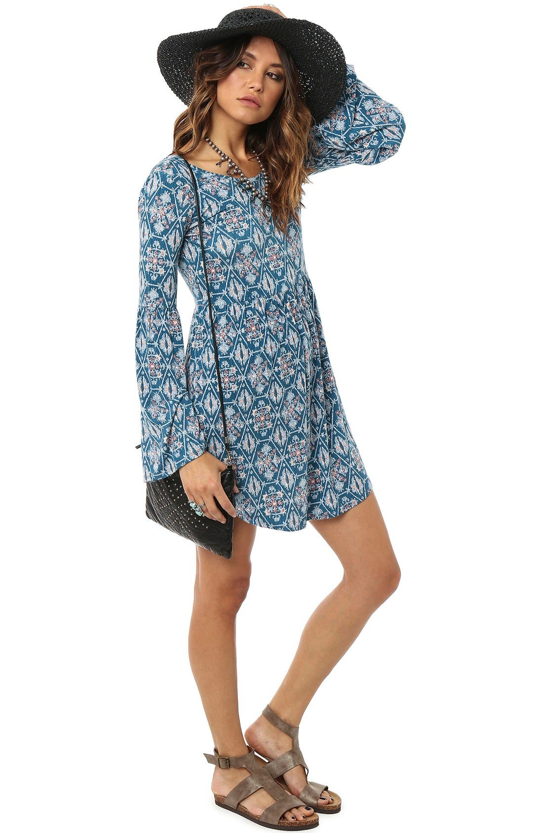 Alternate Image 1 Selected - O'Neill 'Beverly' Print Bell Sleeve Dress