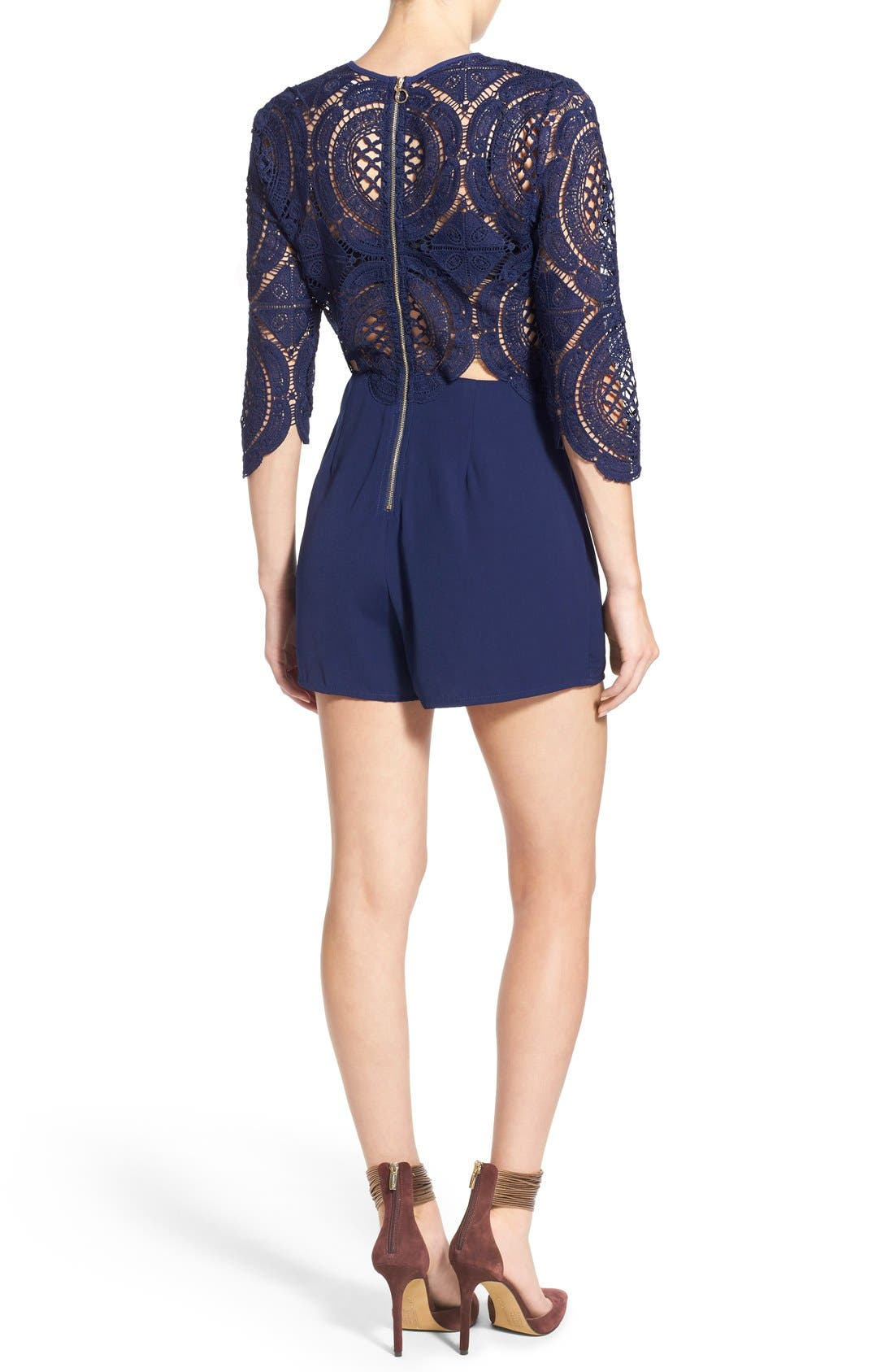 Alternate Image 2  - Missguided Crochet Lace Romper
