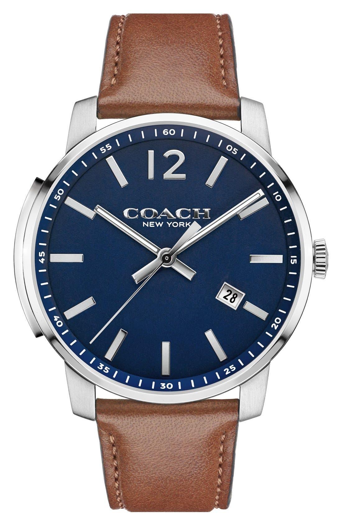 Coach 'Bleecker' Leather Strap Watch, 42mm