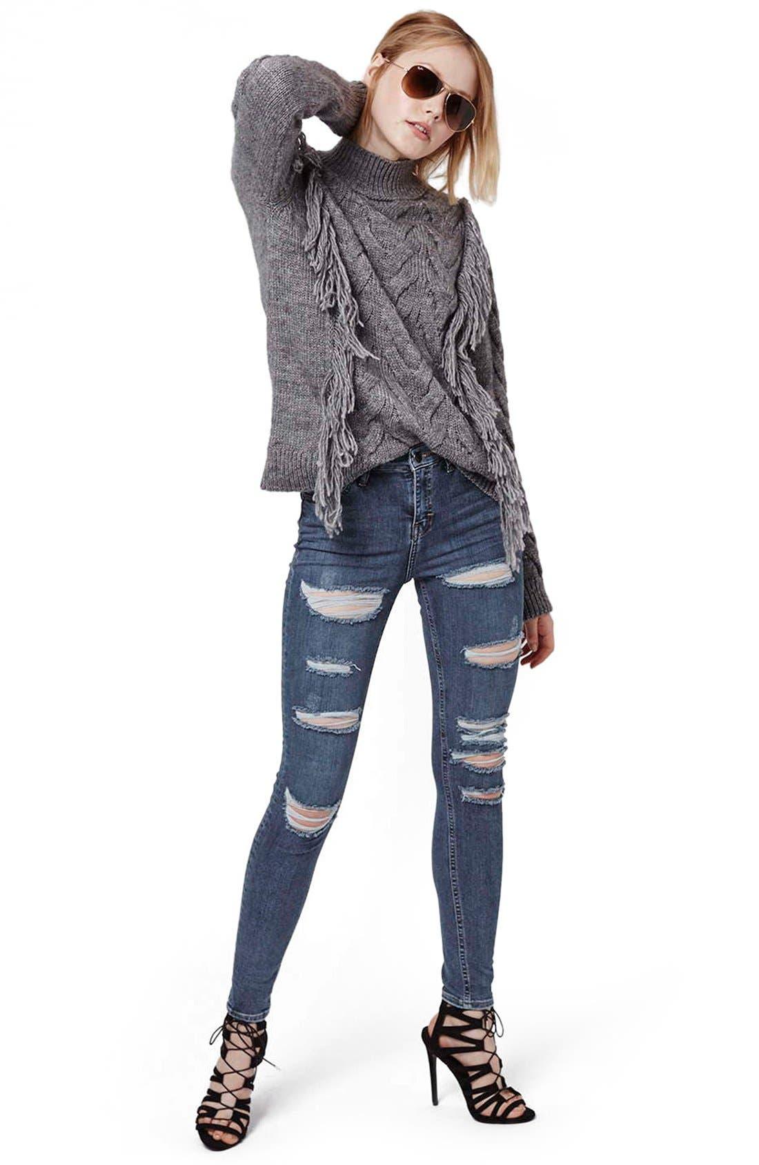 Alternate Image 2  - Topshop Moto 'Jamie' Shredded Skinny Jeans