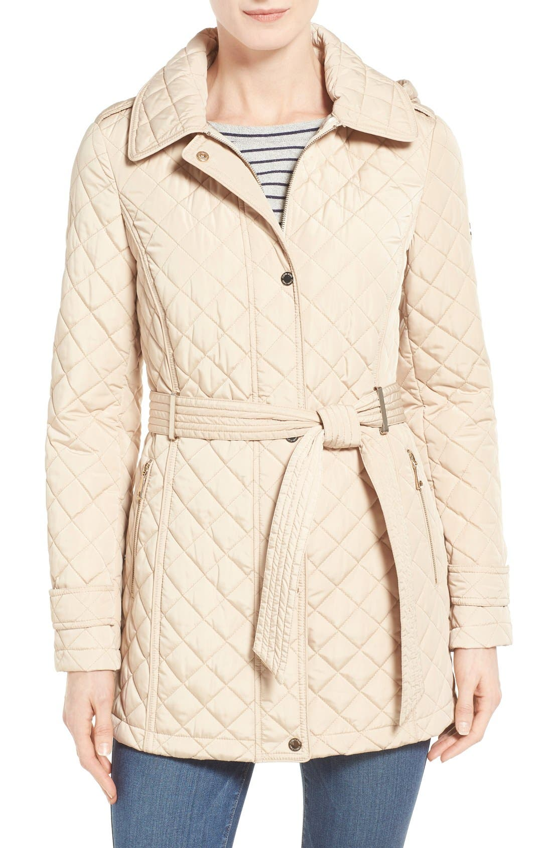 Alternate Image 1 Selected - Calvin Klein Belted Hooded Quilted Coat