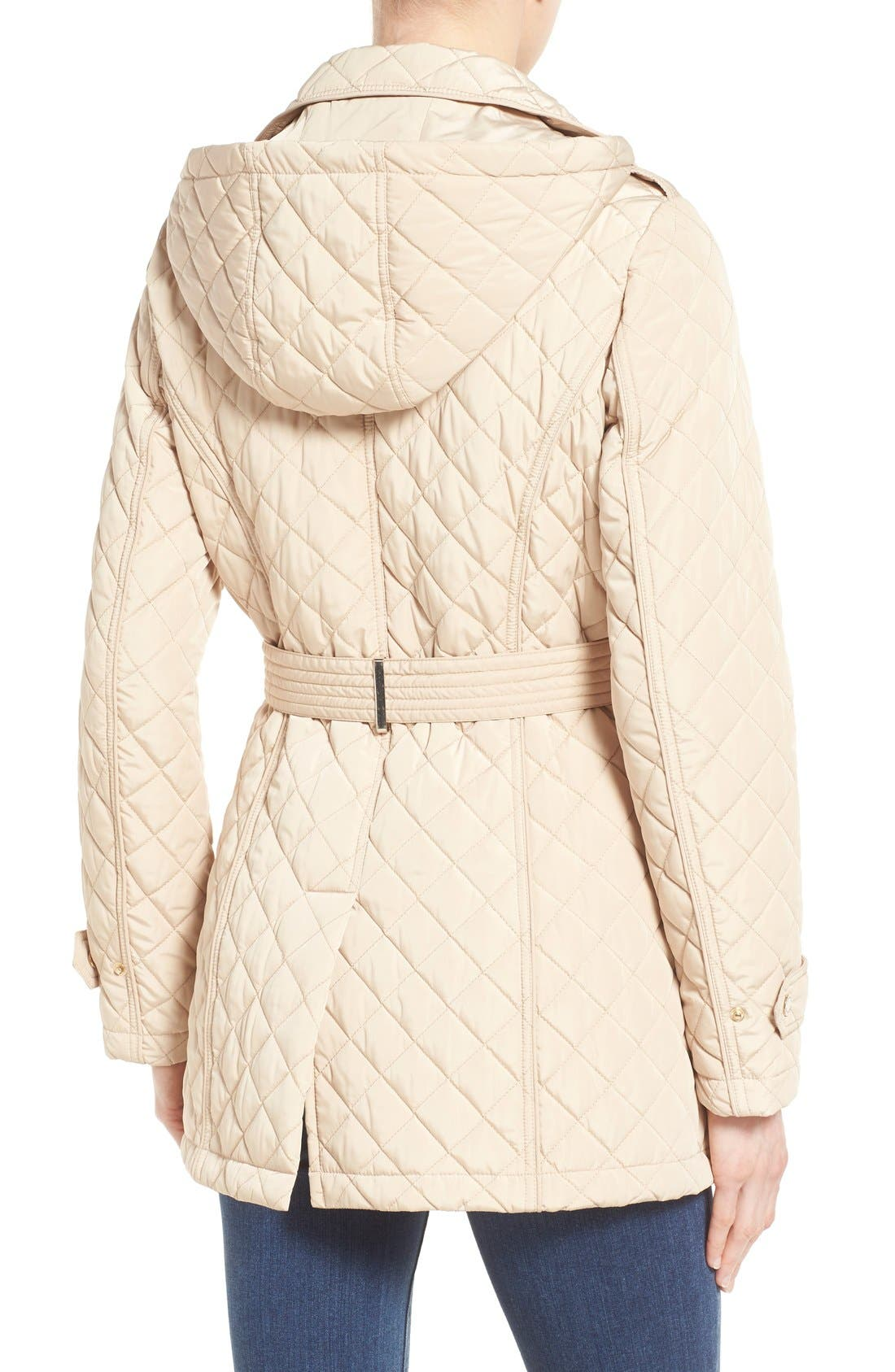 Alternate Image 2  - Calvin Klein Belted Hooded Quilted Coat
