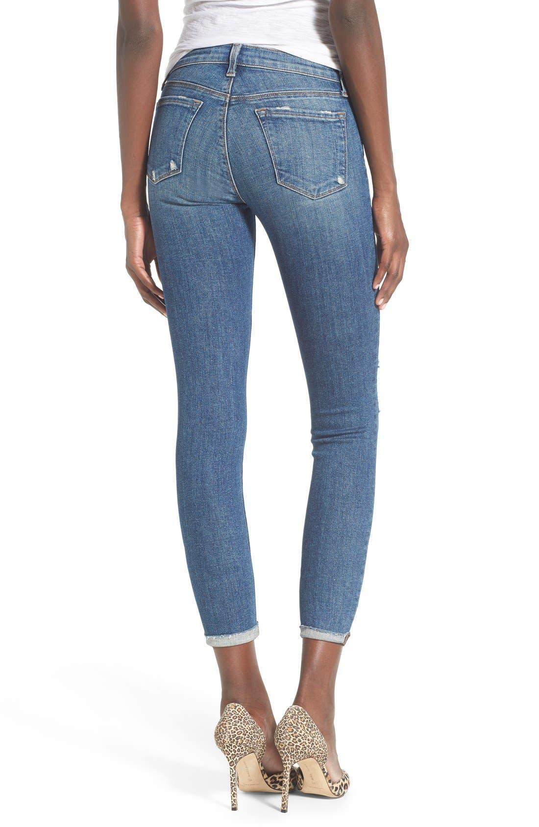 Alternate Image 2  - J Brand Destroyed Skinny Capri Jeans (Breathless)